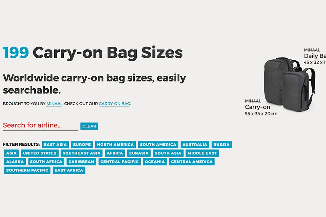 Carryonbagsizes.com from Minaal