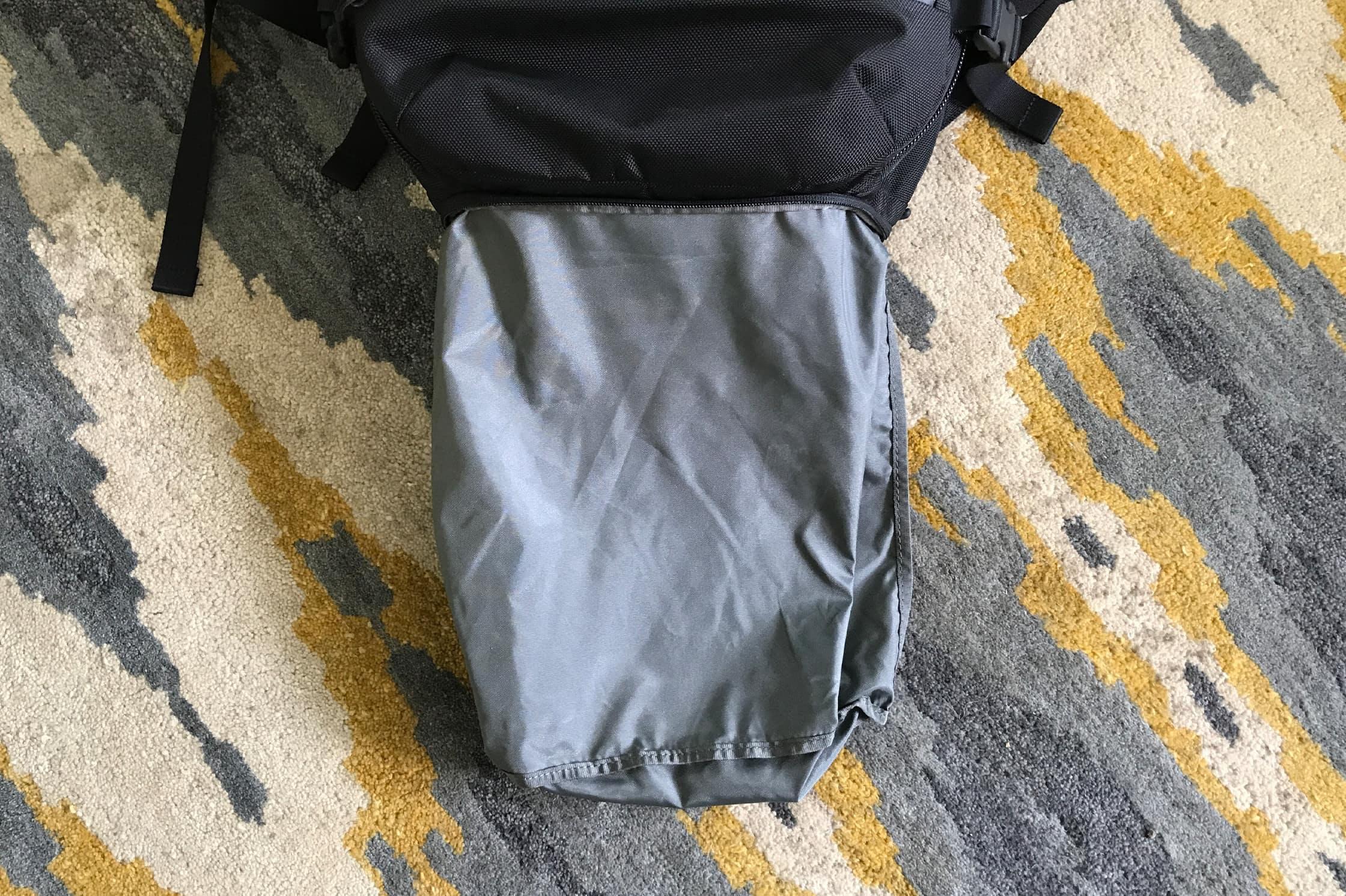 Aer Travel Pack Shoe Pocket Folded Out