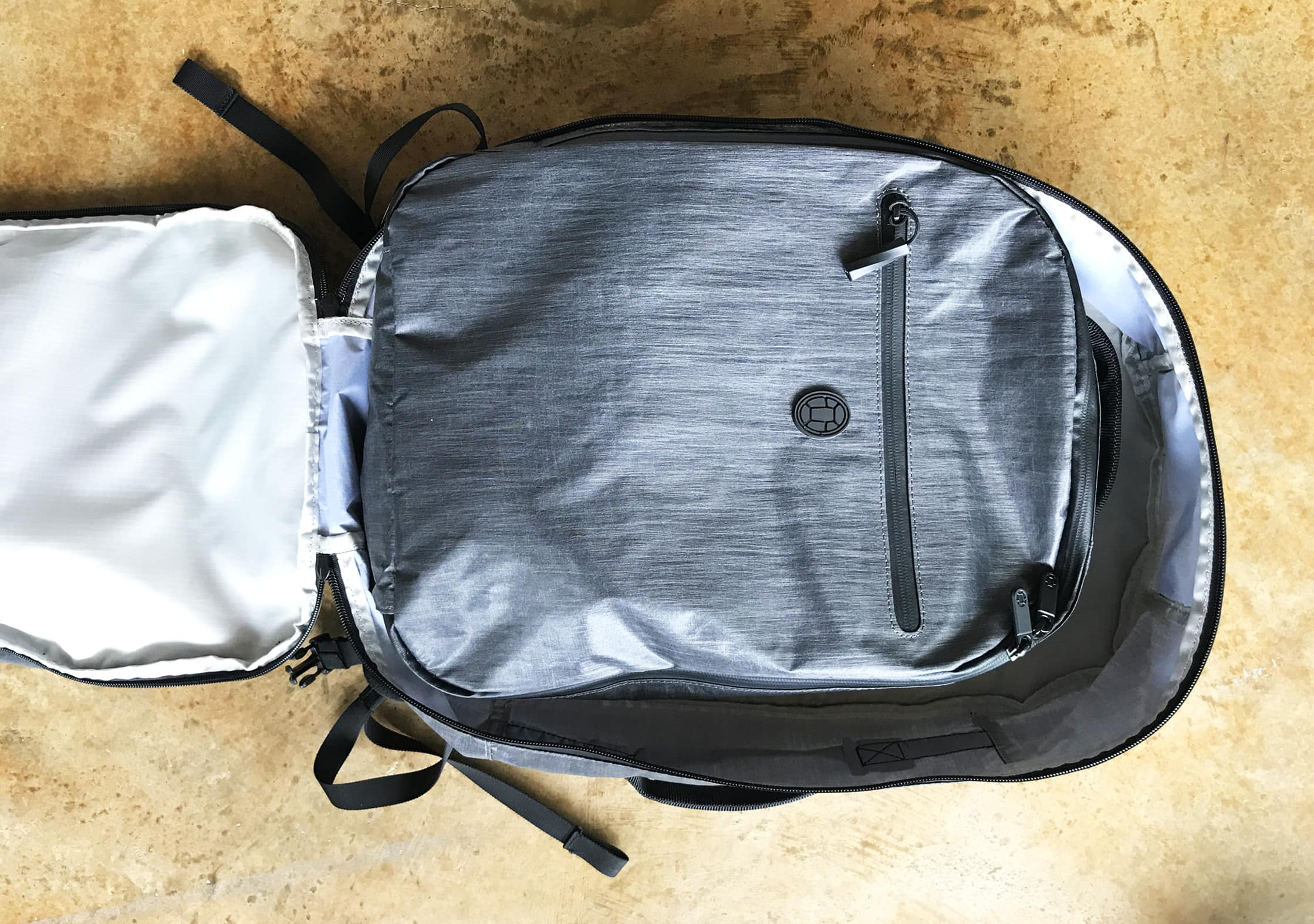 Tortuga Homebase Backpack Packing Cube in the Main Compartment