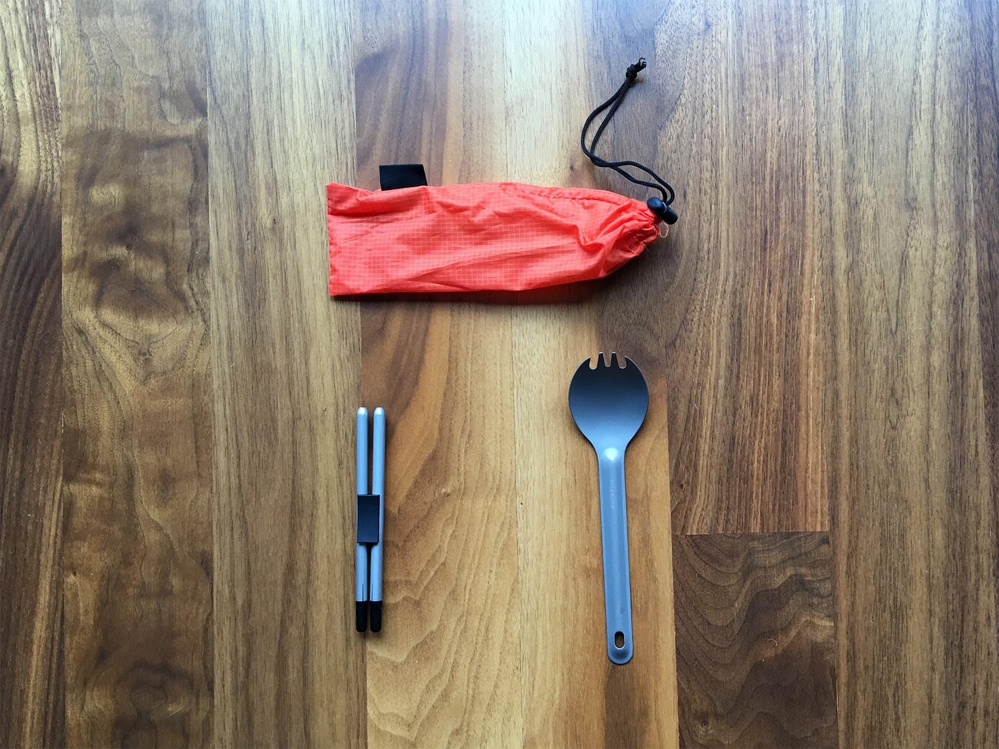 Collapsible Compact Chopsticks | TOAKS Titanium Ultralight Spork: