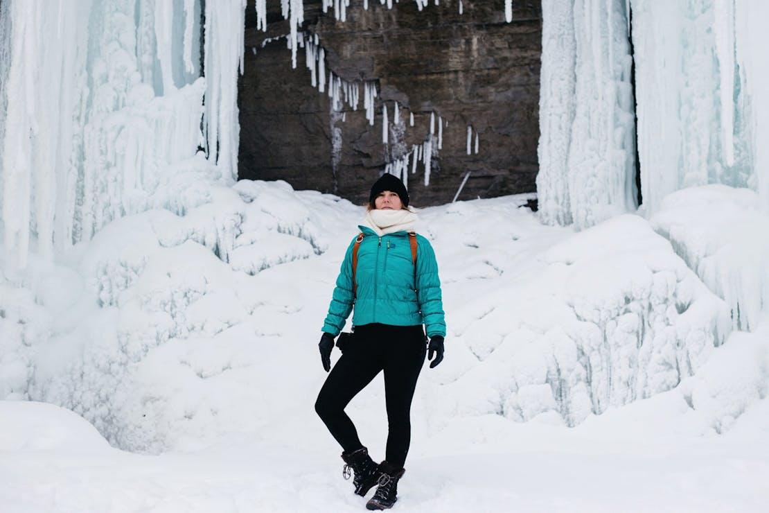 MEC Uplink Jacket in the Snow   Frances Beatty