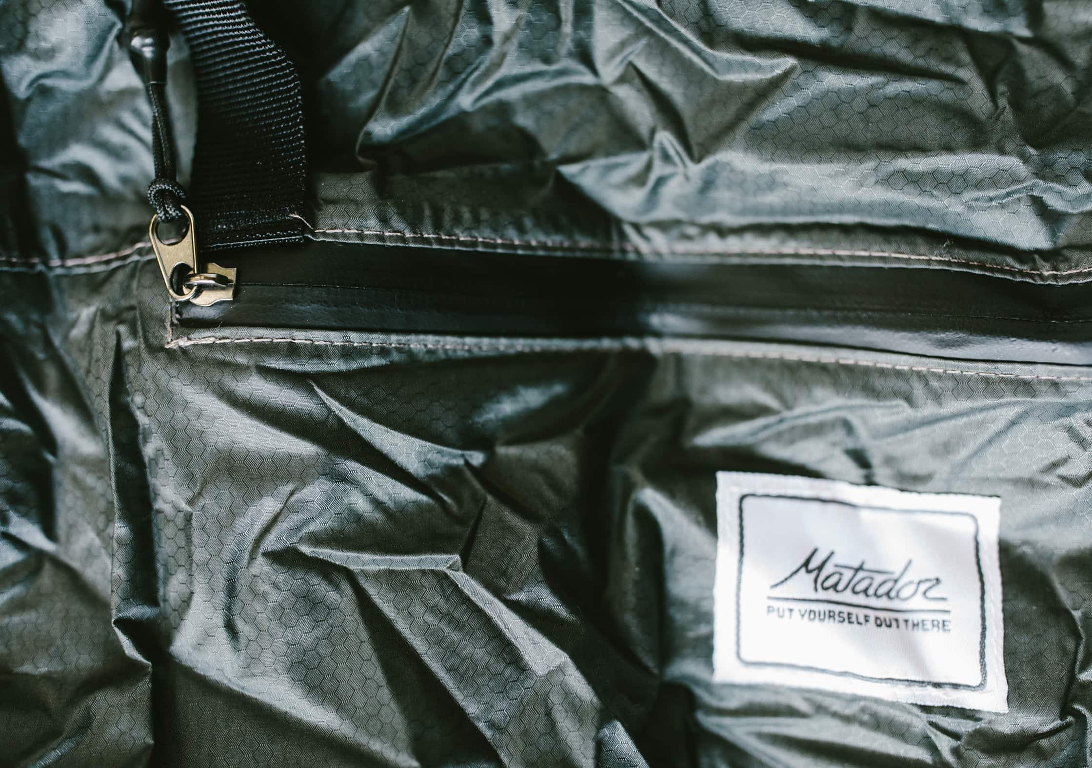 Matador Transit Tote Bag Water Resistant Zipper Close Up