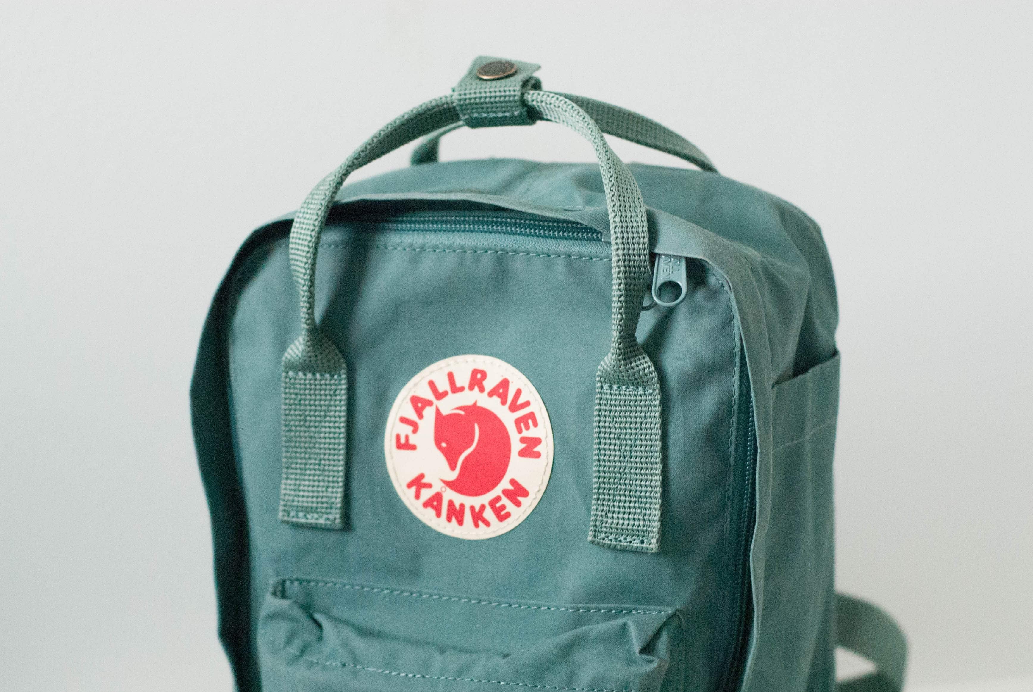 Fjallraven Kanken Mini Review Pack Hacker Classic Ocean Green Top Handle View