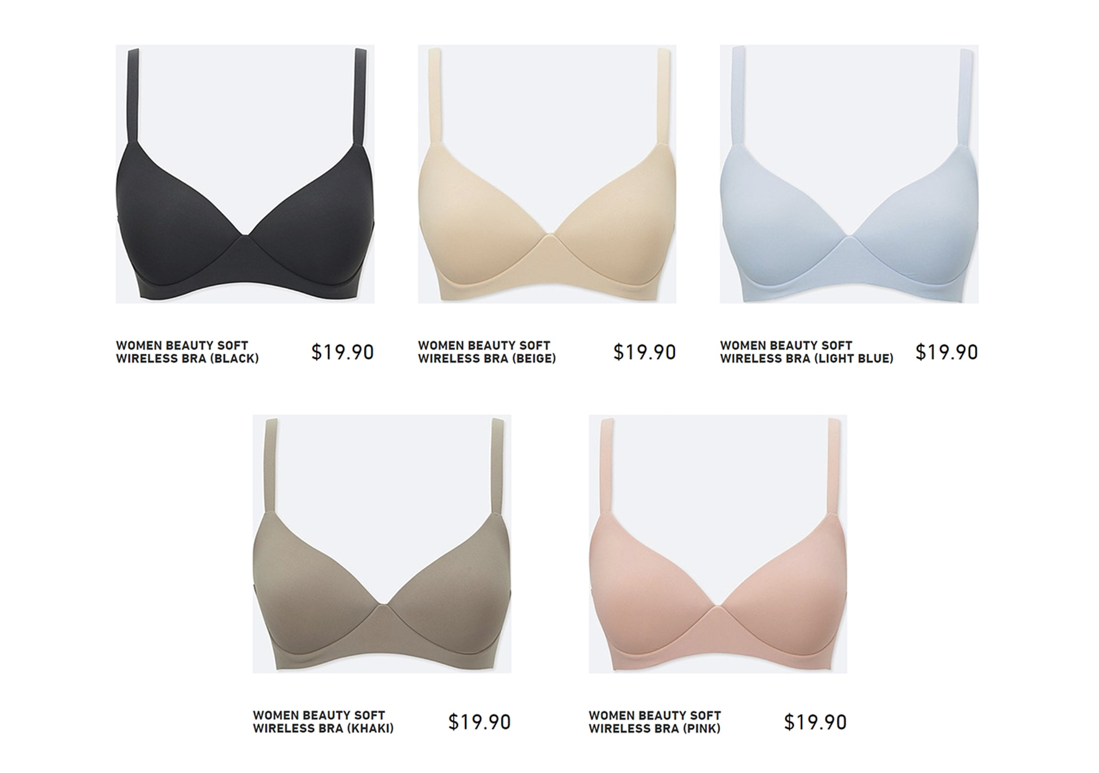 Uniqlo Wireless 'Beauty Soft' Bra Colors