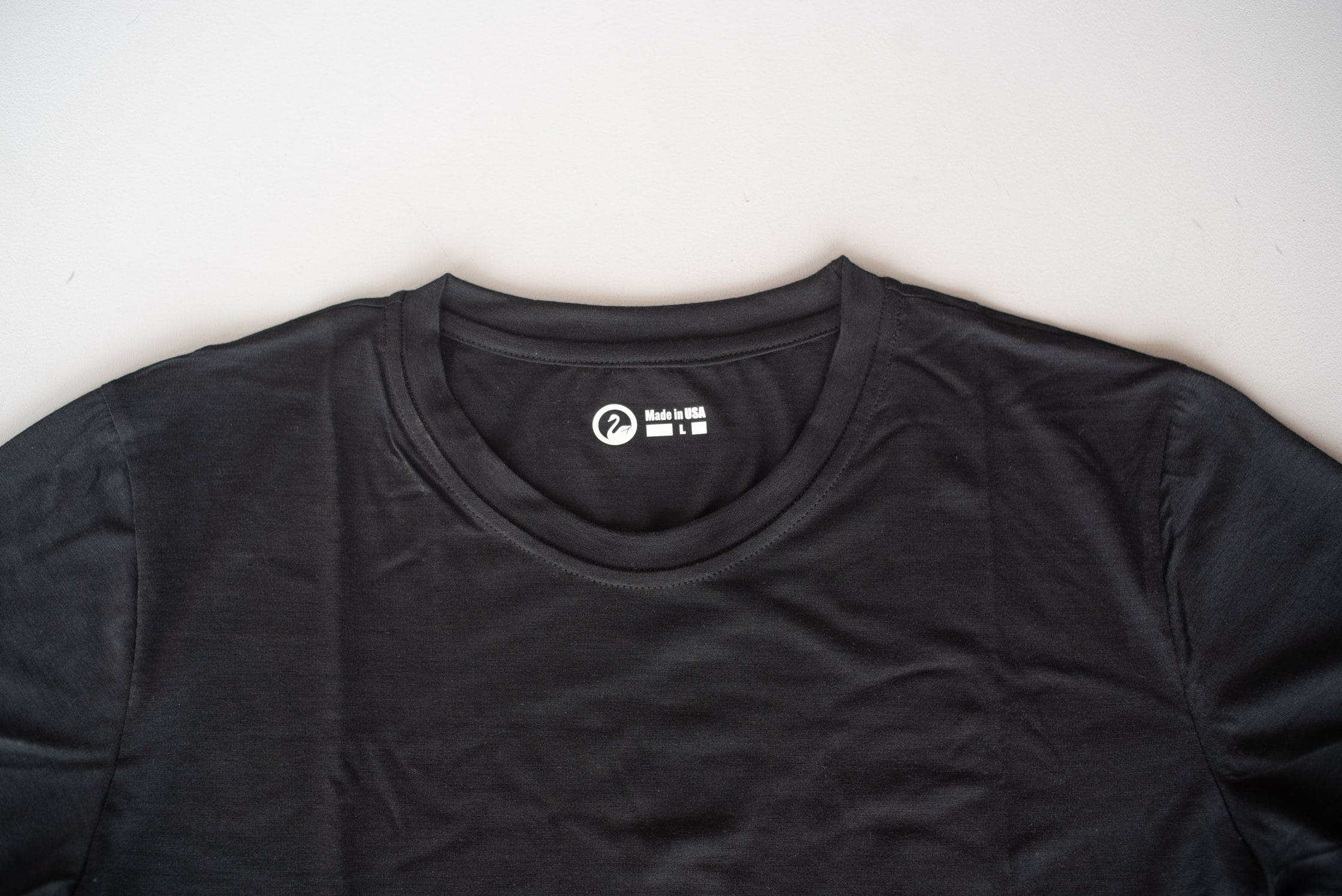 Outlier Runweight Merino Black T-shirt Neckline