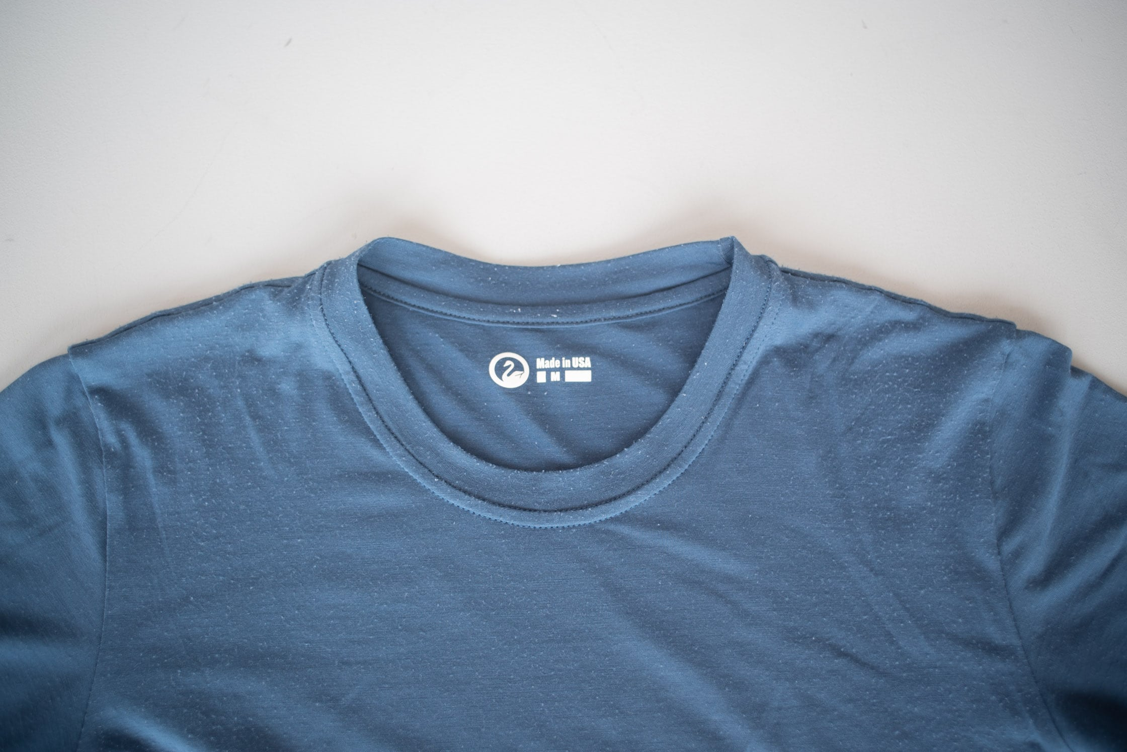 Outlier Runweight Merino Sea Blue T-shirt Neckline