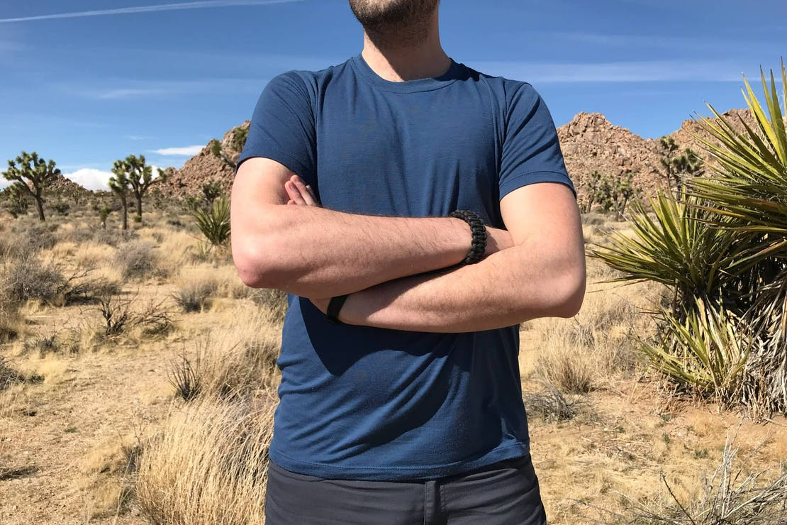 Outlier Runweight Merino-Sea Blue T-shirt in Joshua Tree