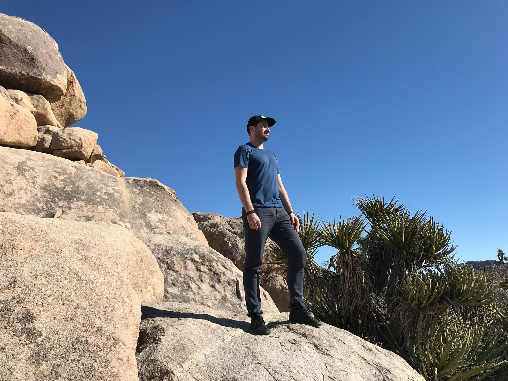 Outlier Runweight Merino Sea Blue T-shirt in the Wild