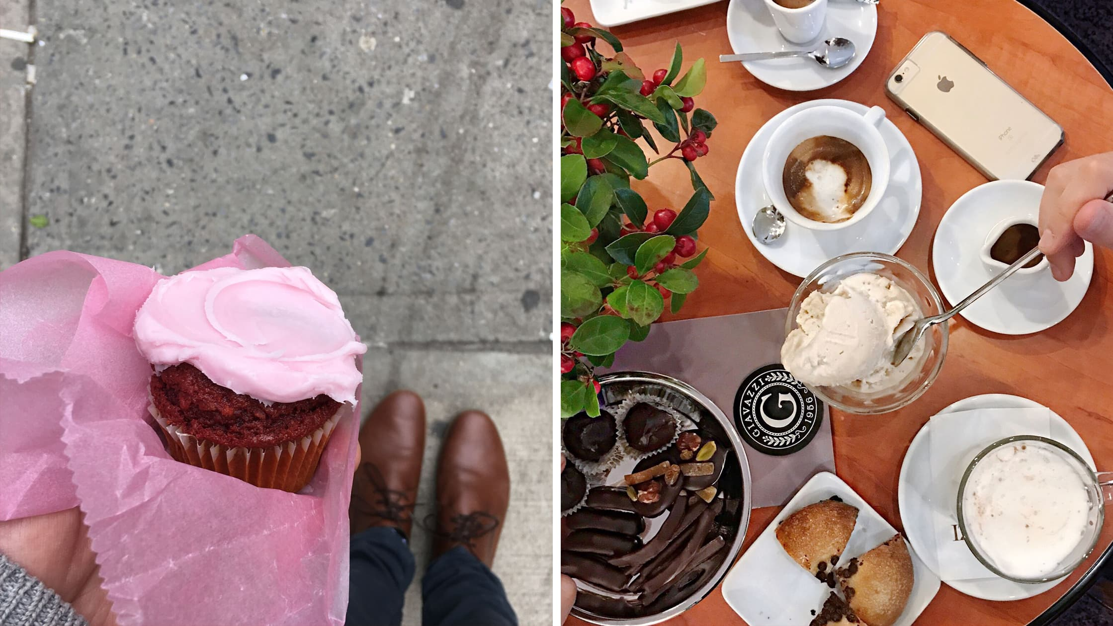 Left: Vegan Cupcake & Shoes in Berlin, Germany | Right: Vegan Dessert in Rivolta d'Adda, Italy