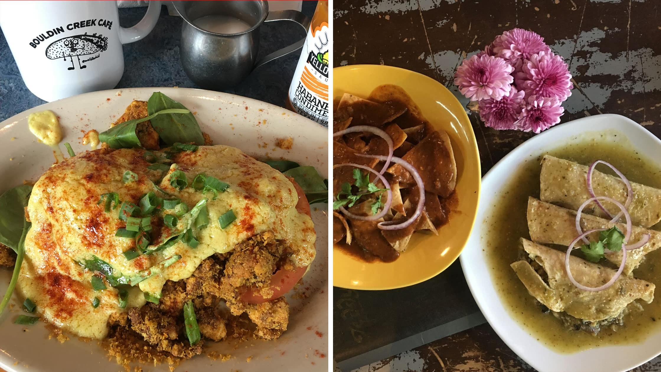 Left: Breakfast in Austin, Texas | Right: Chilaquiles verdes in Mexico City