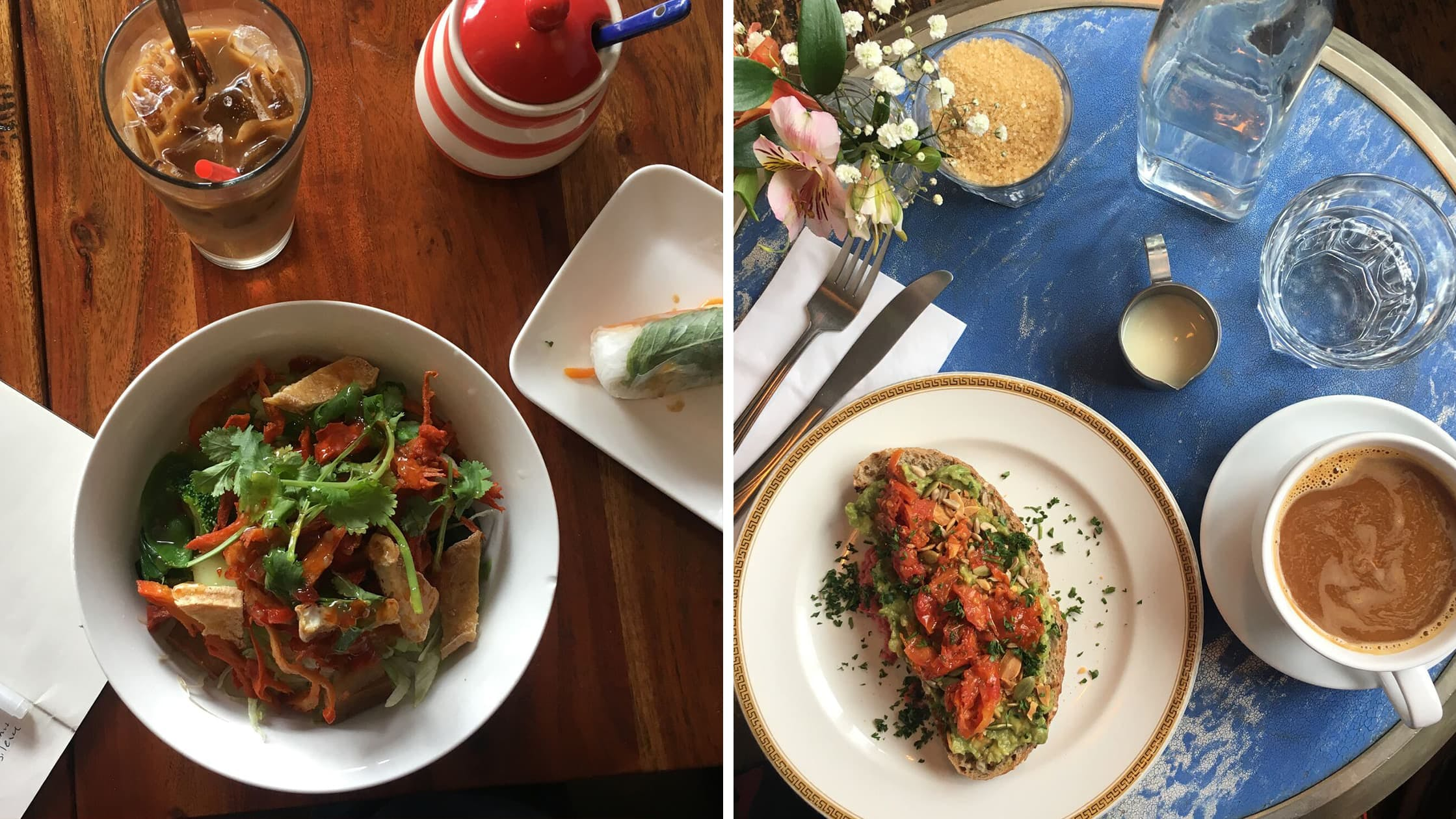 Left: Vietnamese food in Melbourne, Australia | Right: Avocado Toast in Oxford, England