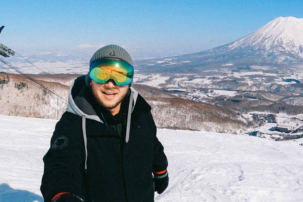 Daniel Sammut at the Grand Hirafu Ski Resort in Niseko, Japan