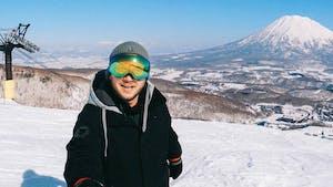 Daniel Sammut at the Grand Hirafu Ski Resort in Niseko, Japan