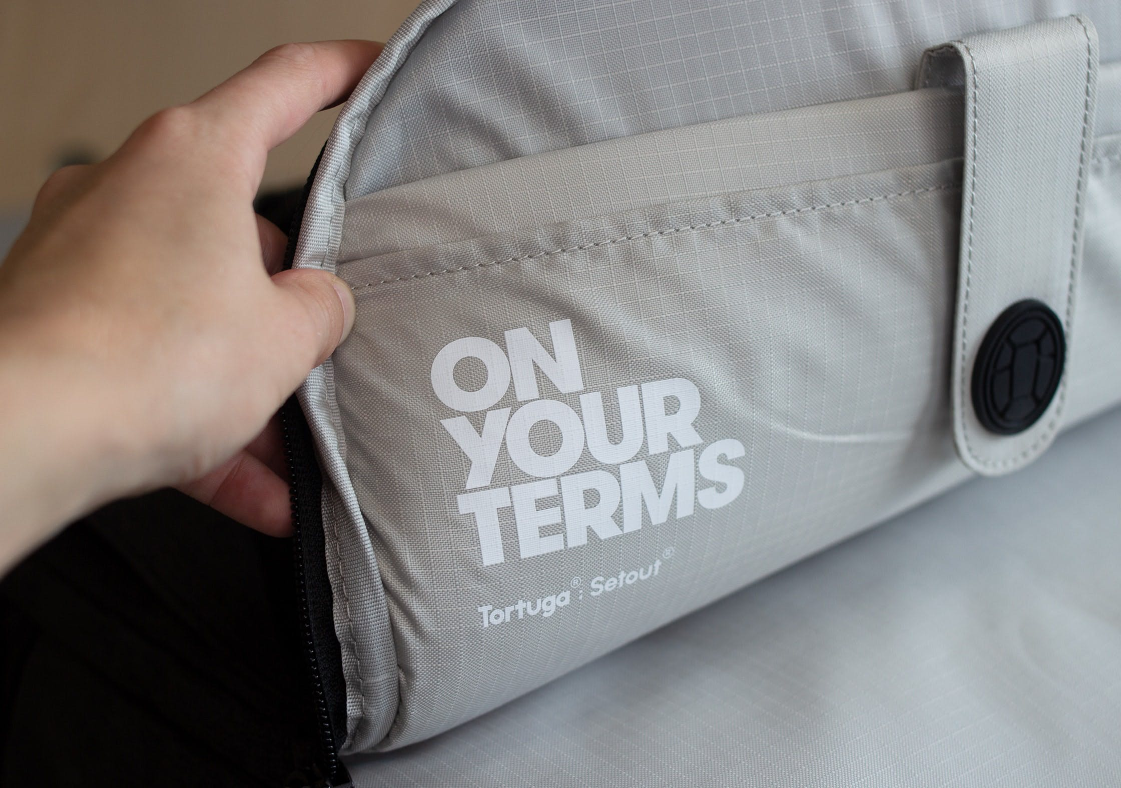 "Tortuga Setout Divide Backpack ""On Your Terms"" Branding"