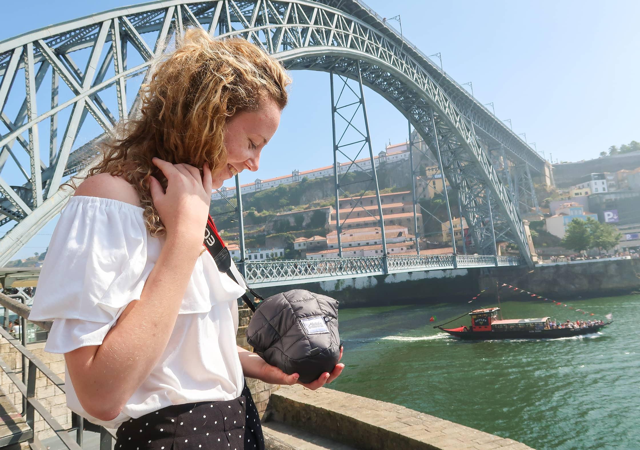 Matador Camera Base Layer Next To Dom Luis Bridge In Porto, Portugal