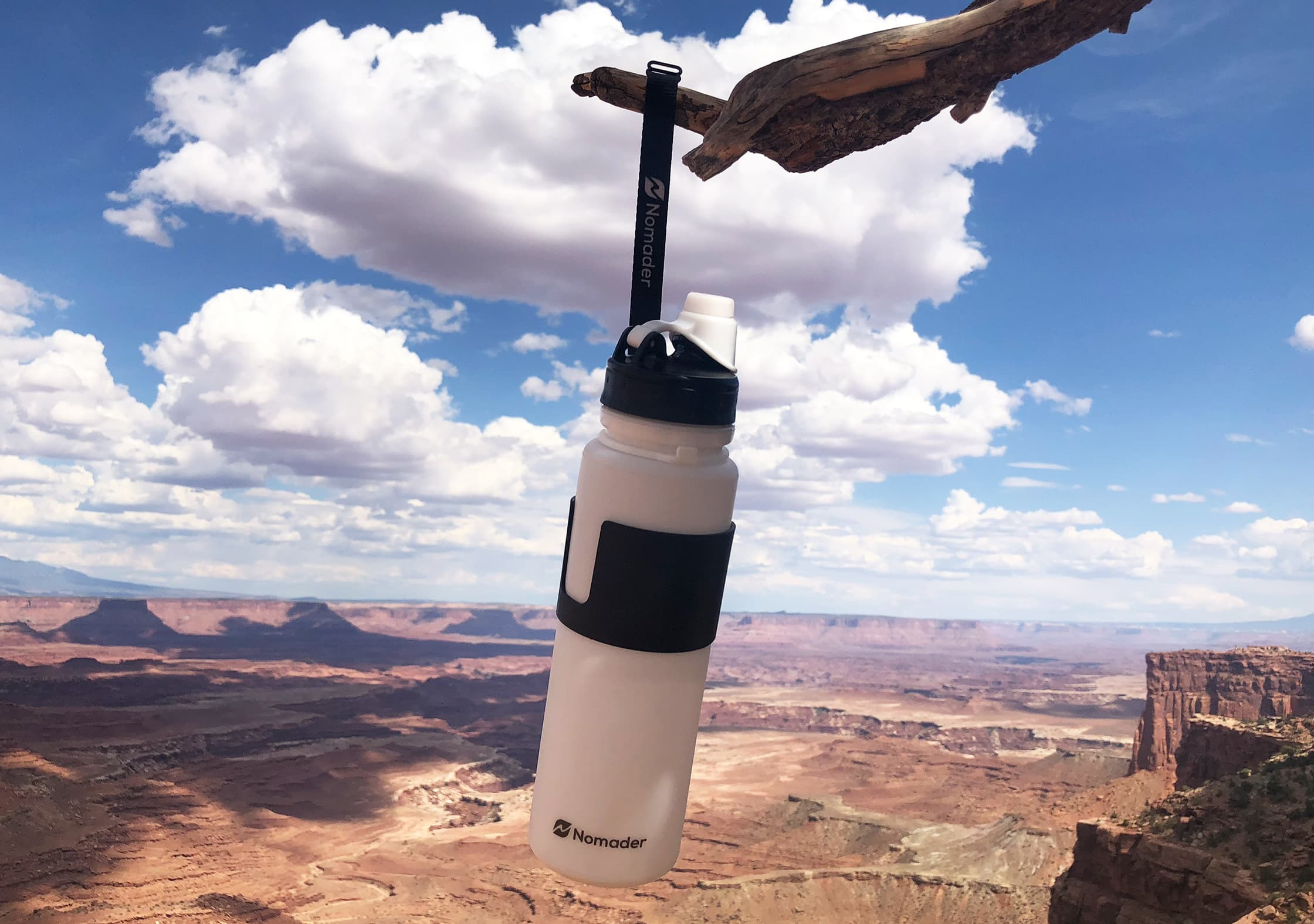 Nomader Collapsible Water Bottle Utilizing Strap at Canyonlands National Park