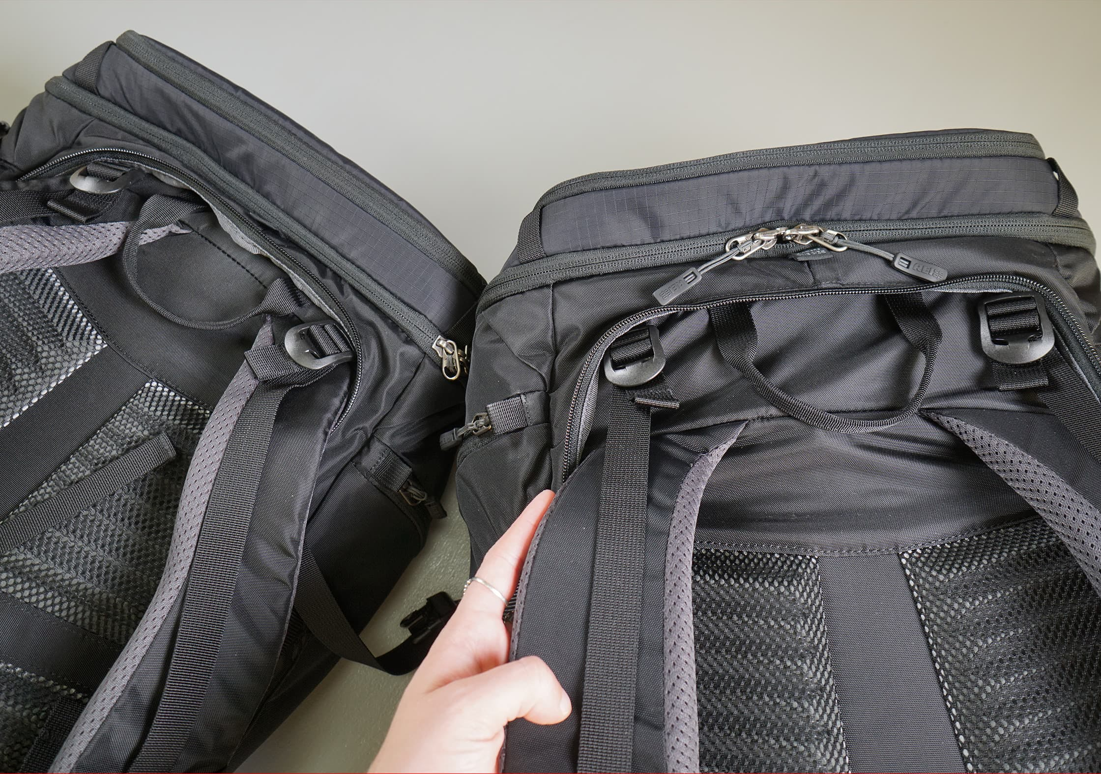 REI Ruckpack 40 Strap Difference (Left: Men's, Right: Women's)