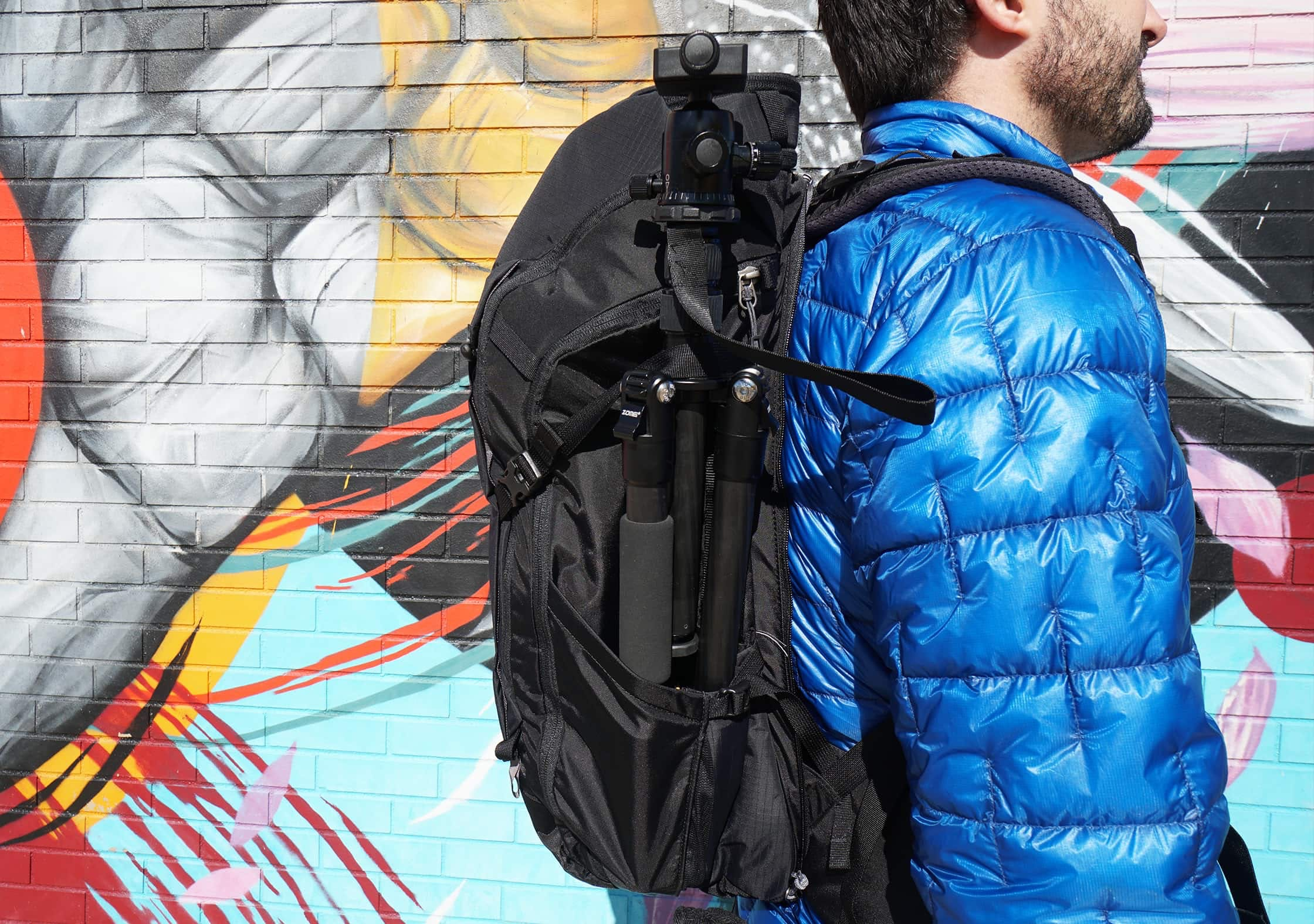 REI Ruckpack 40 Side Pocket With Tripod