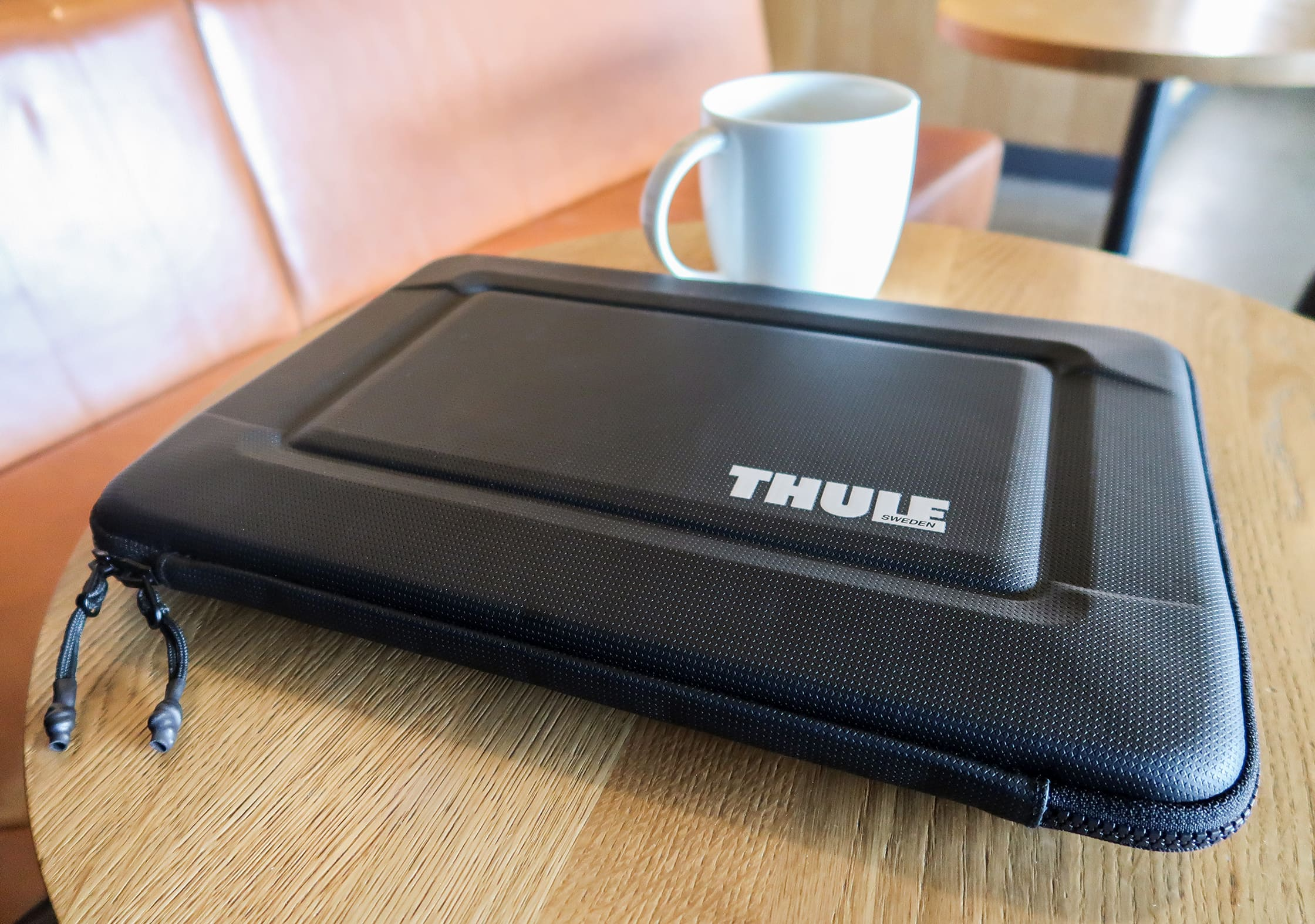 Thule Gauntlet 3.0 Laptop Sleeve At A Coffee House In The UK