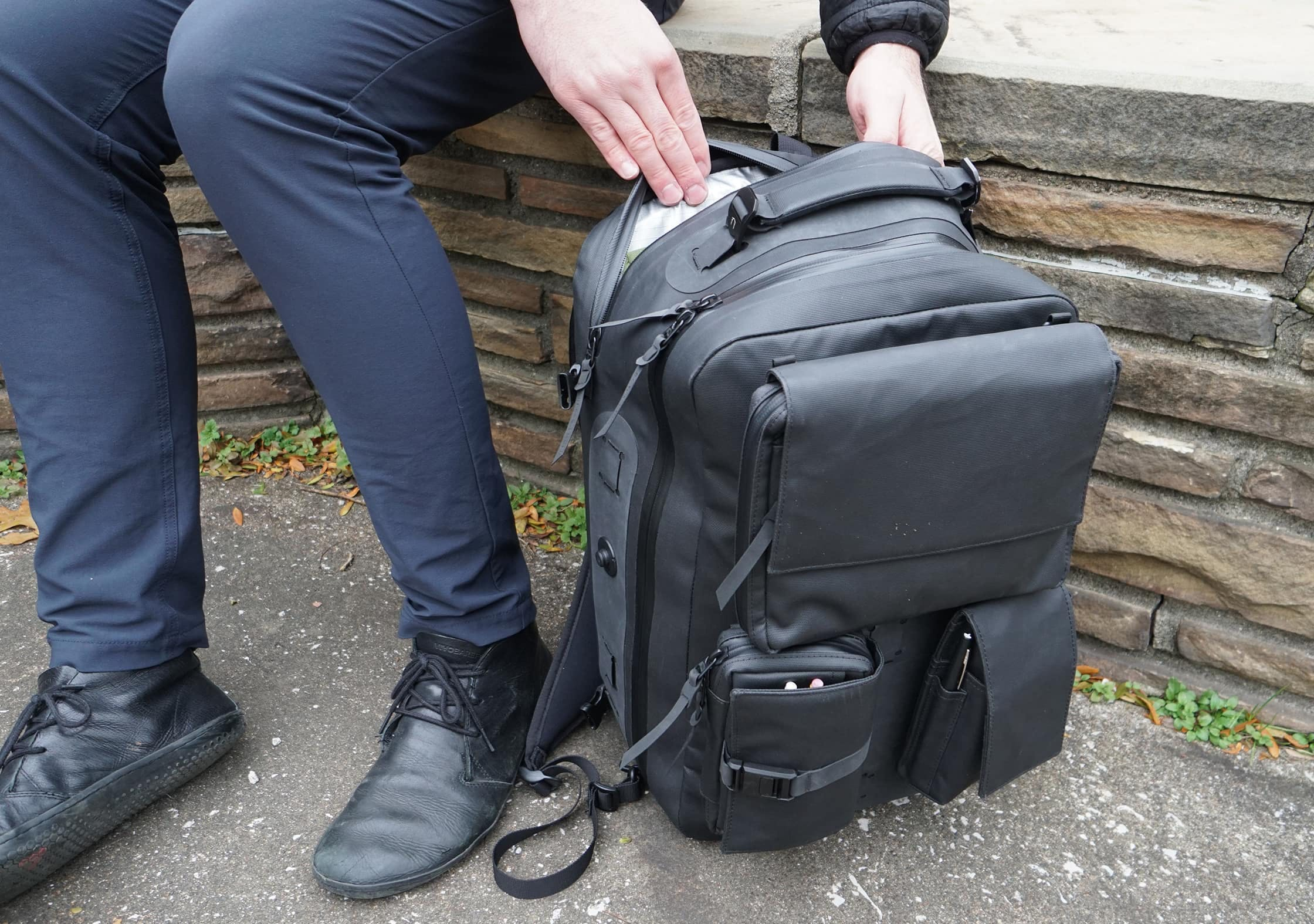 Black Ember Citadel Modular Backpack In Use