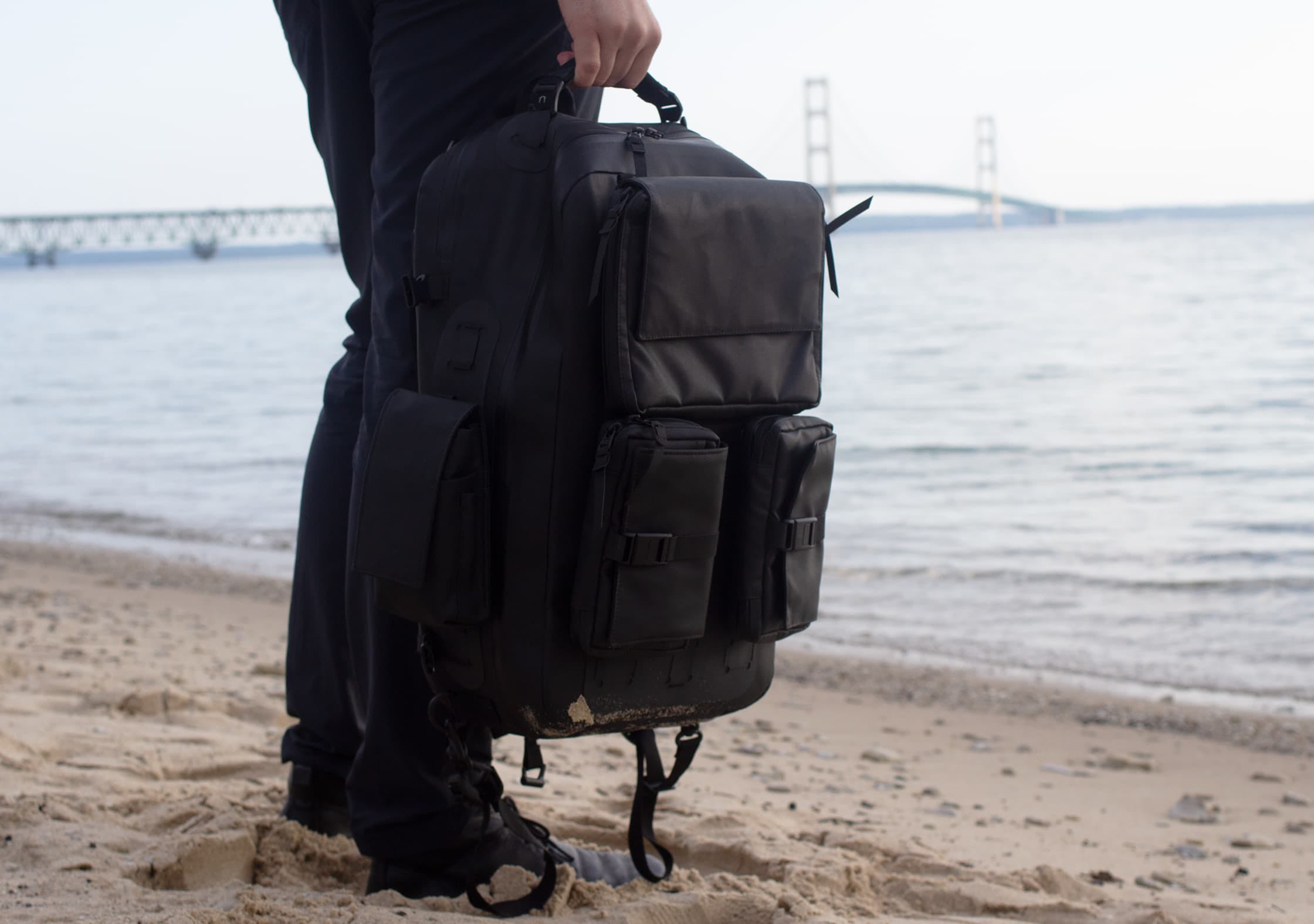 Black Ember Citadel Modular Backpack at Lake Michigan