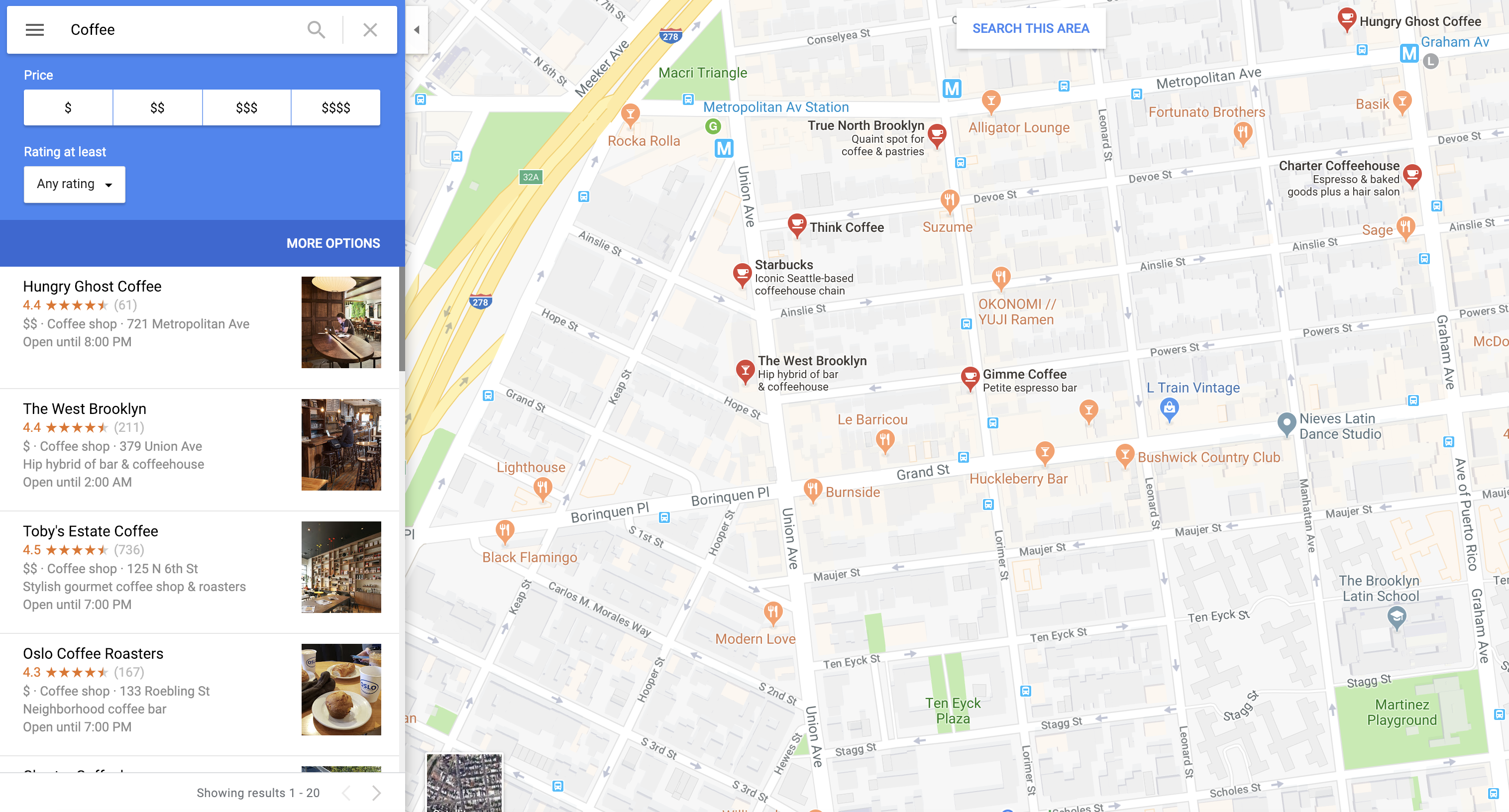 Finding A Local Coffee Shop Utilizing Google Maps