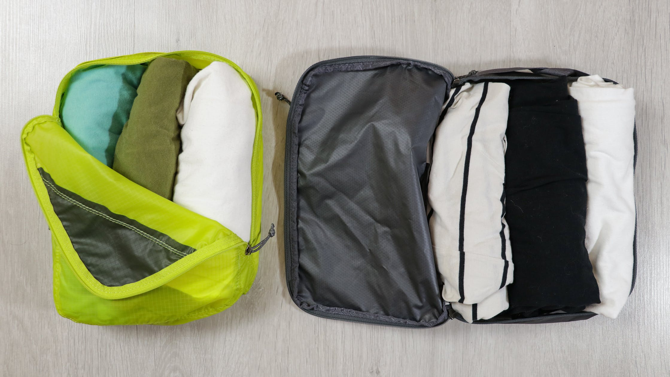Half Zippered Opening (Left) & Clamshell Opening (Right)