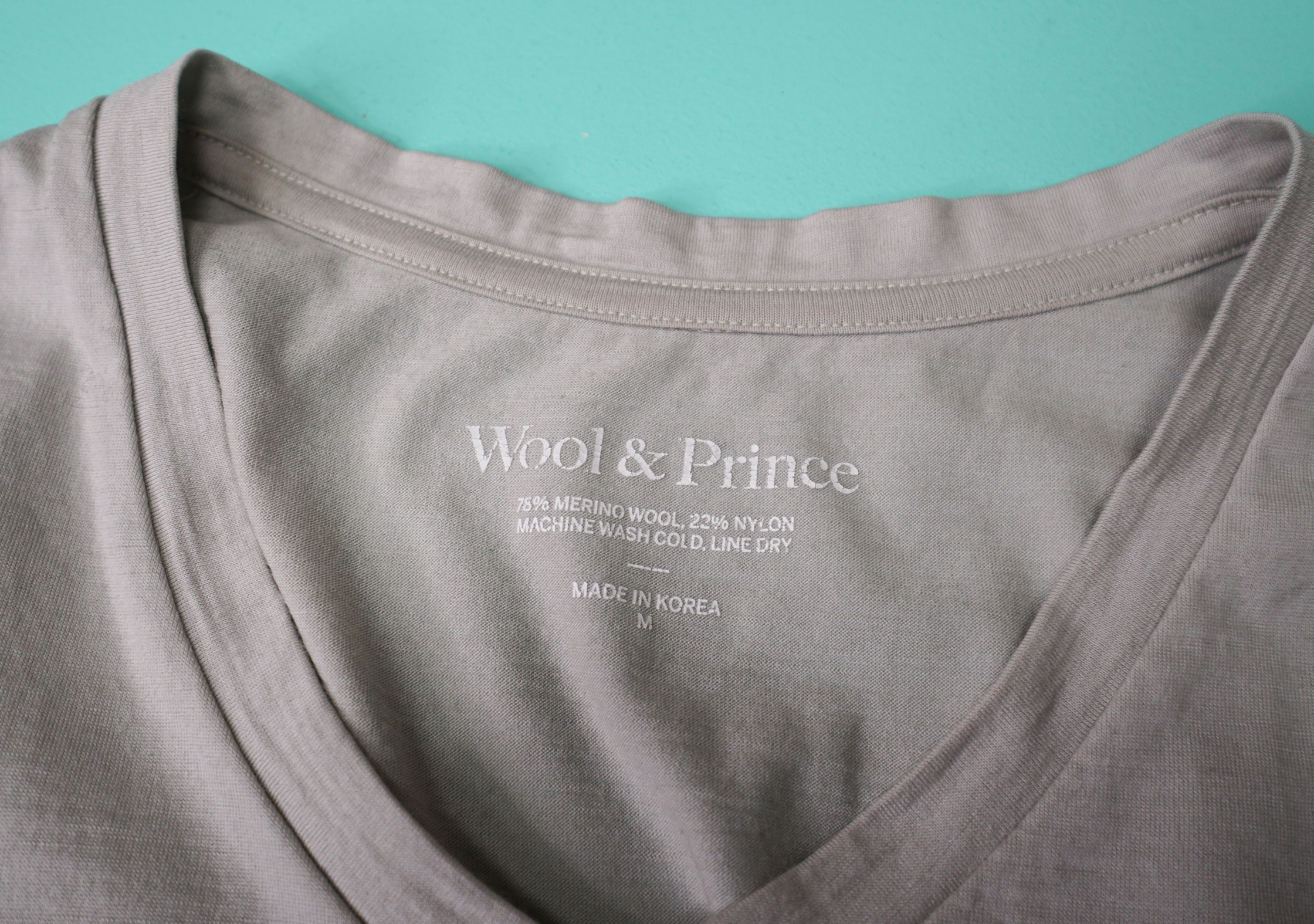 Wool & Prince V-Neck Tee Neck Line