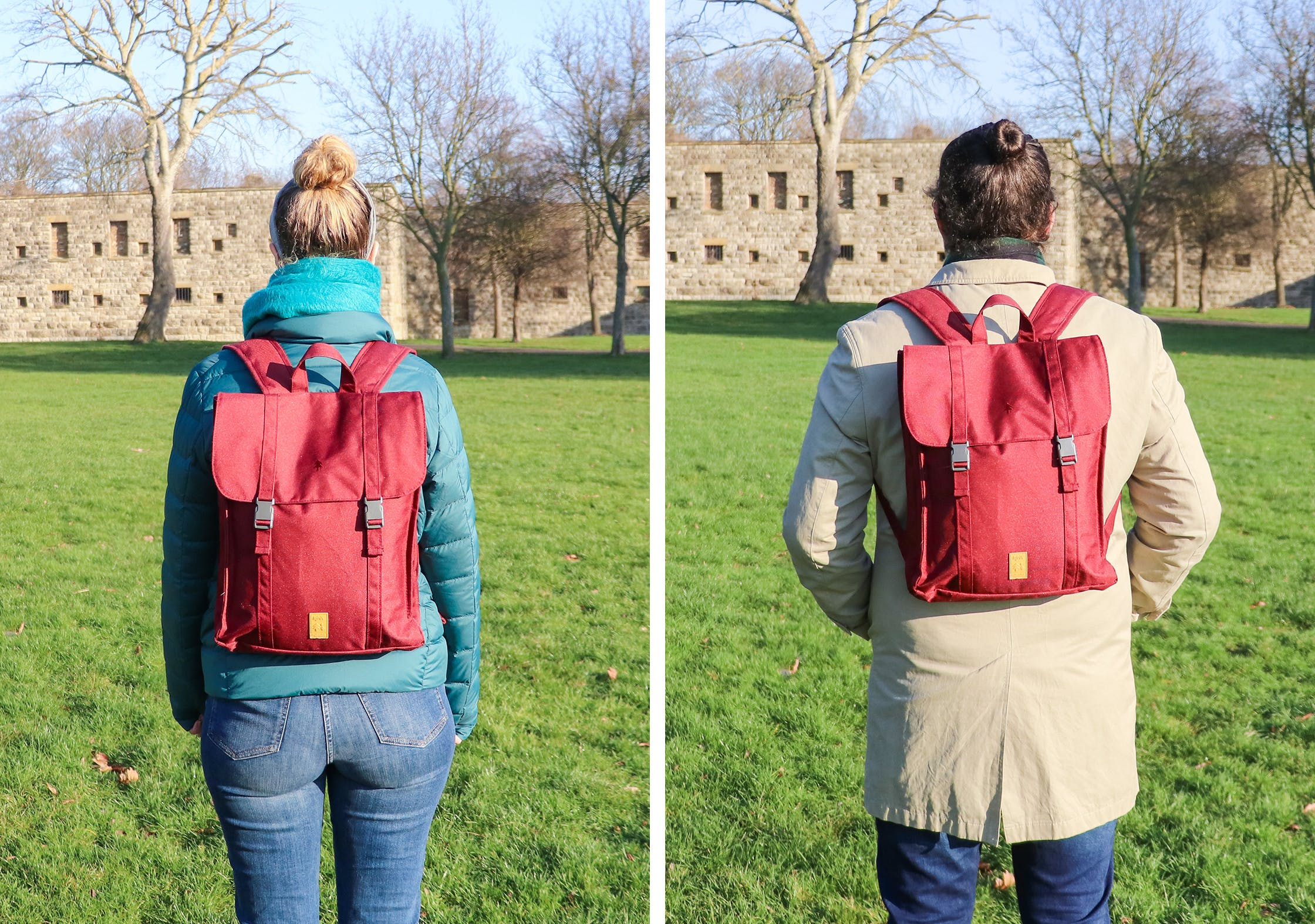 "Lefrik Handy Backpack On 5'7"" Rebecca (Left) & 6'4"" Nathan (Right)"