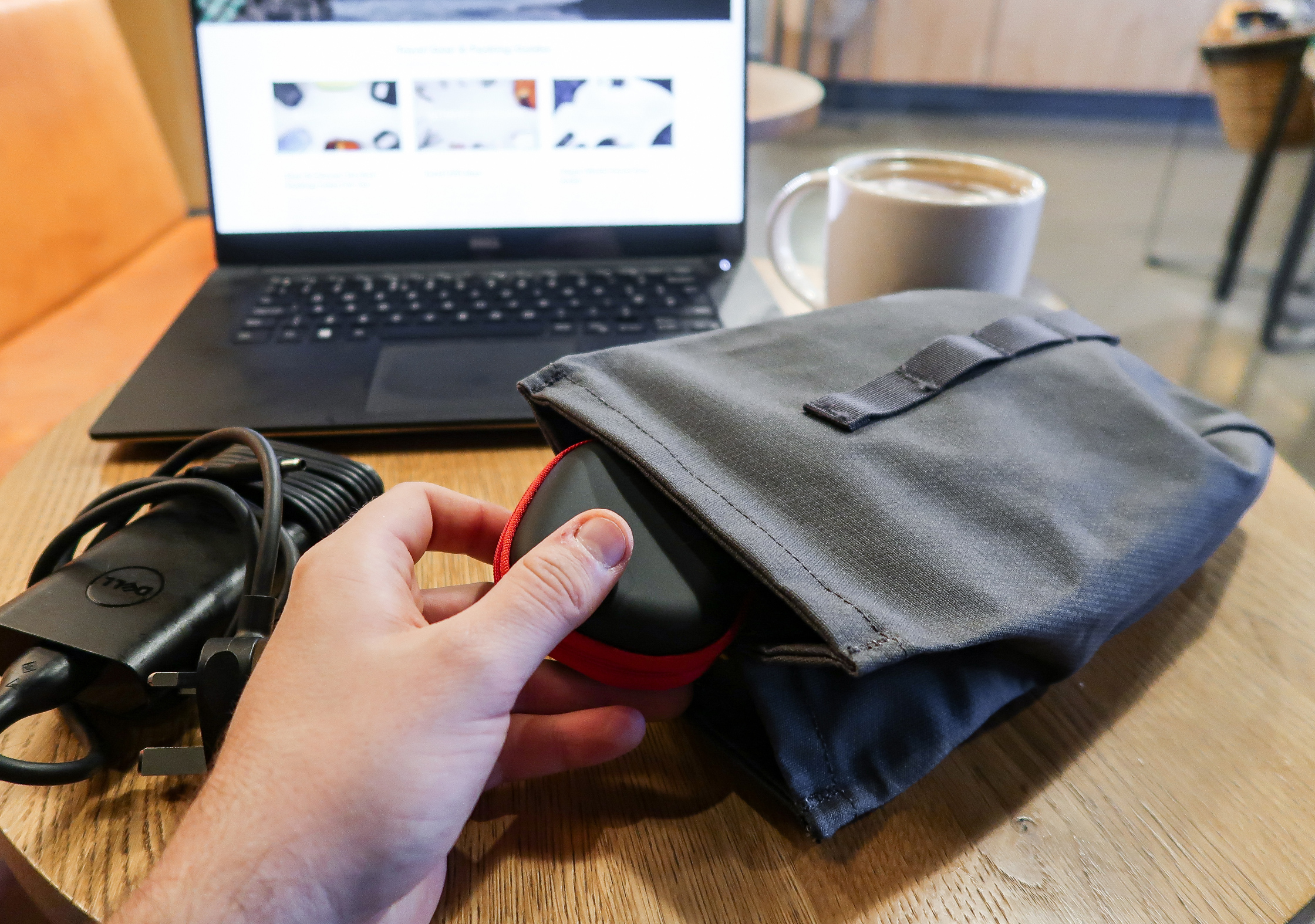 Millican Smith Utility Pouch At A Coffee House In The South Of England