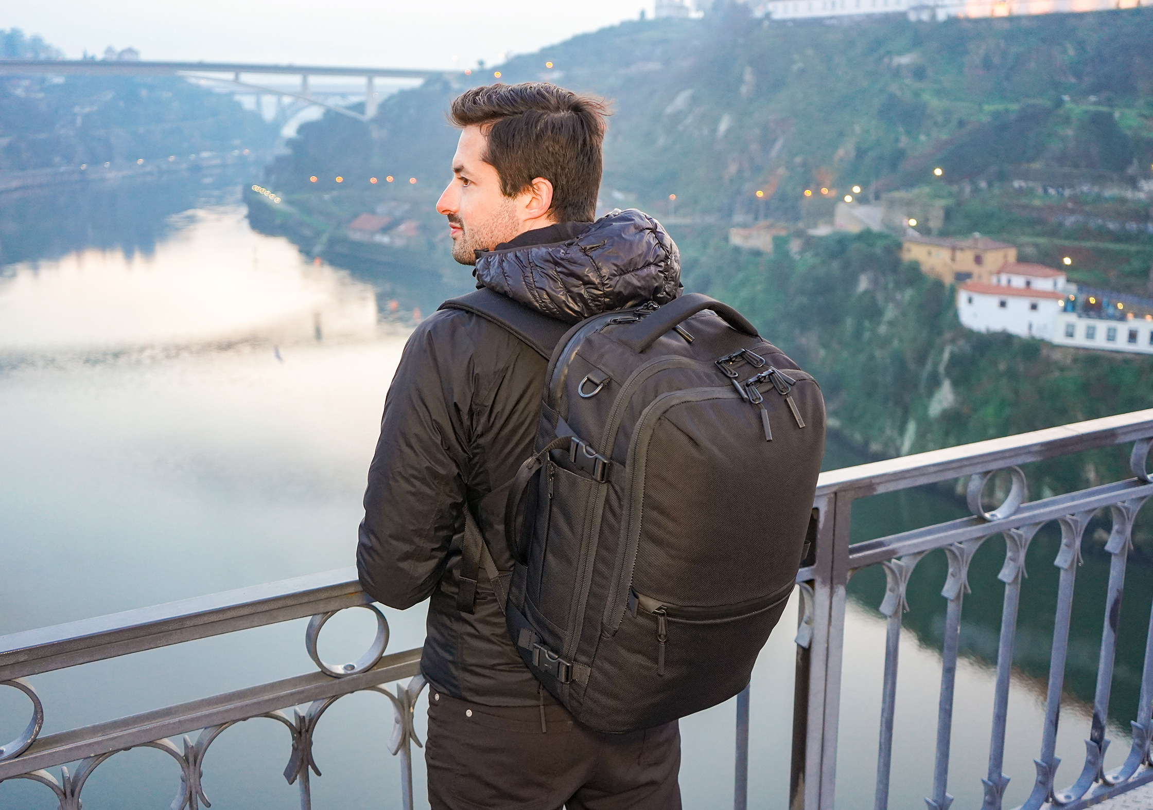 Tom Wahlin with the Aer Travel Pack 2 in Porto, Portugal