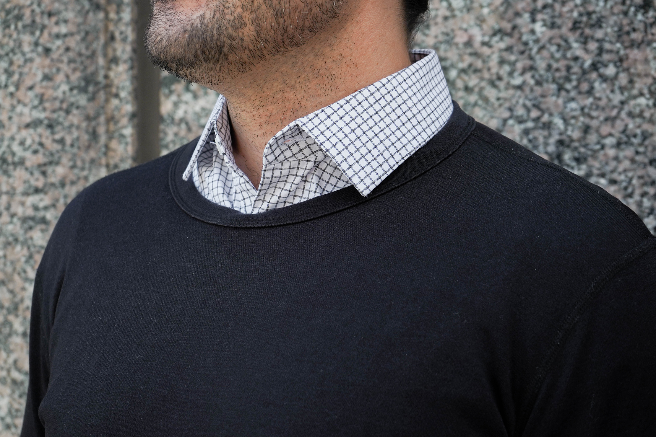 Wool & Prince Heavy Crew Neck Over Dress Shirt