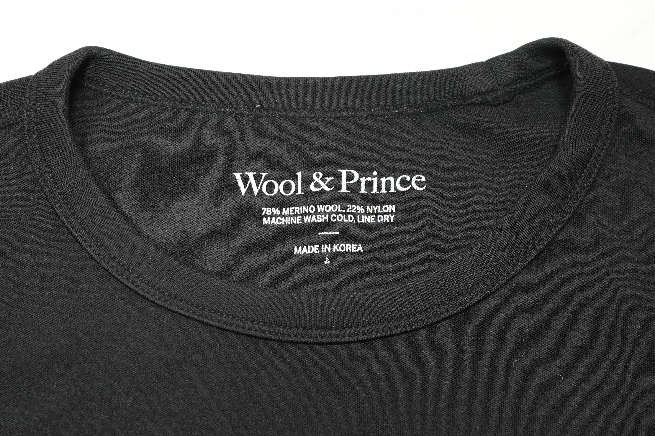 Wool & Prince Heavy Crew Neck Tag