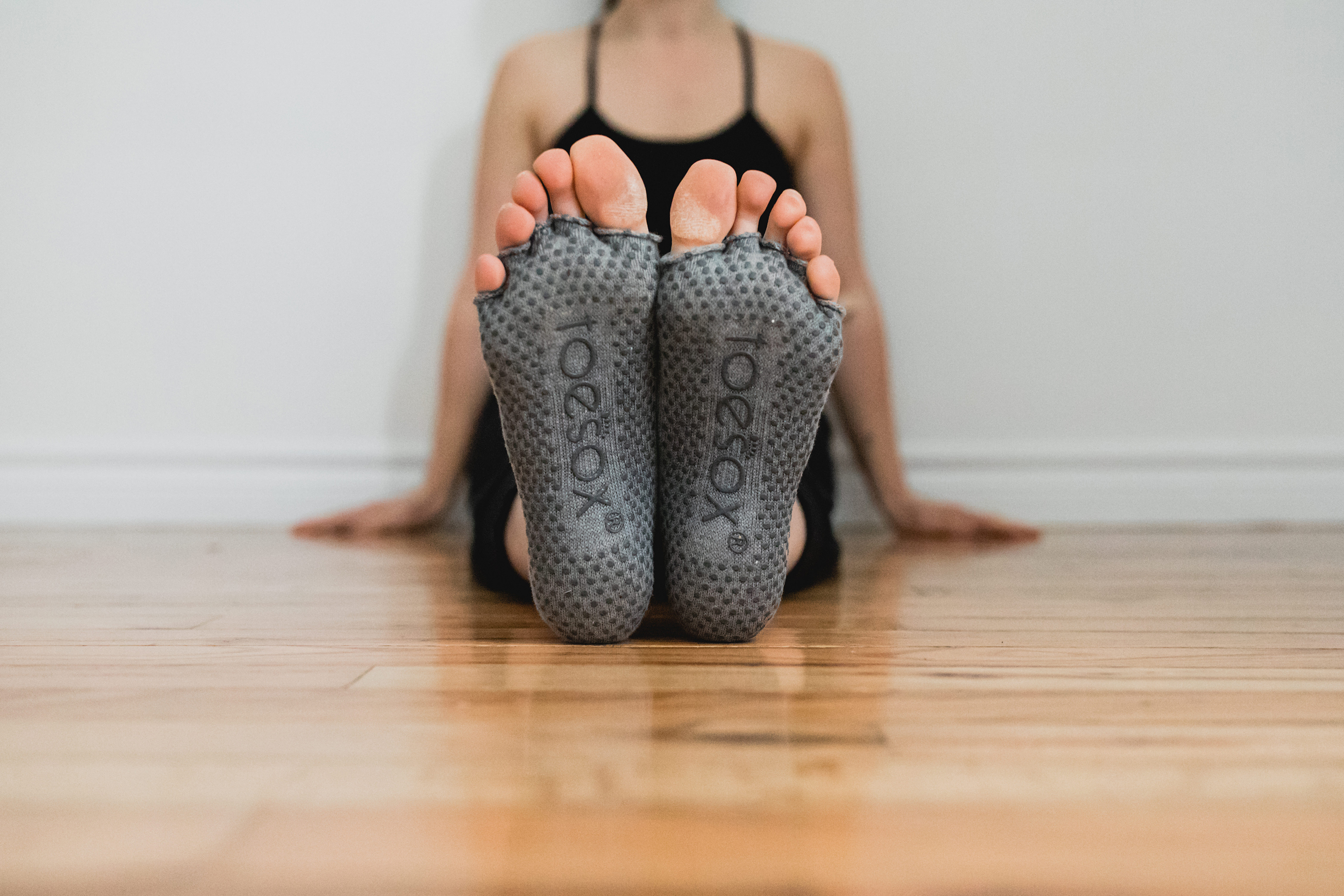 Bella Half Toe Grip Socks let your toes be free during yoga