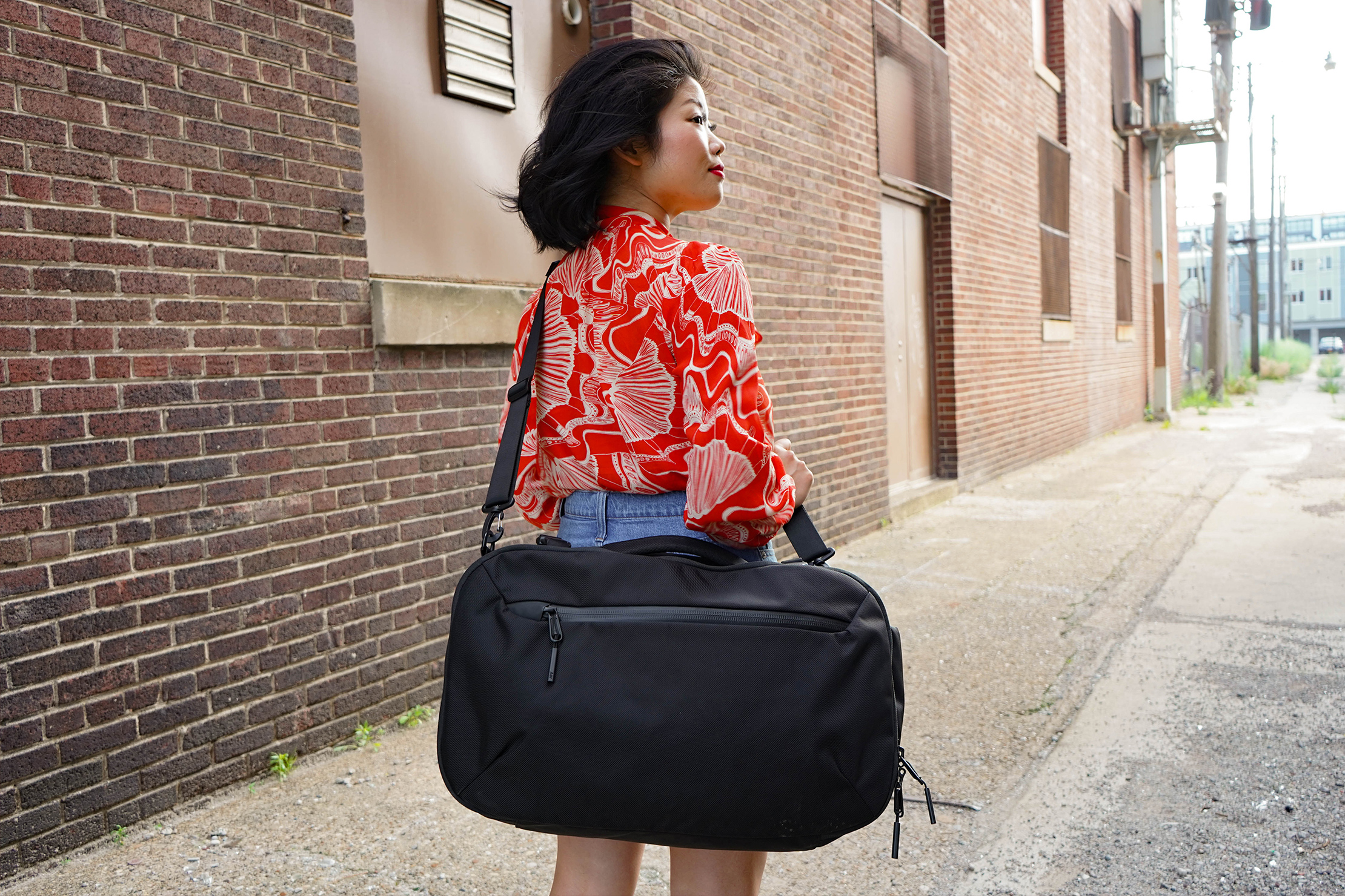 Wearing The Aer Travel Duffel Crossbody
