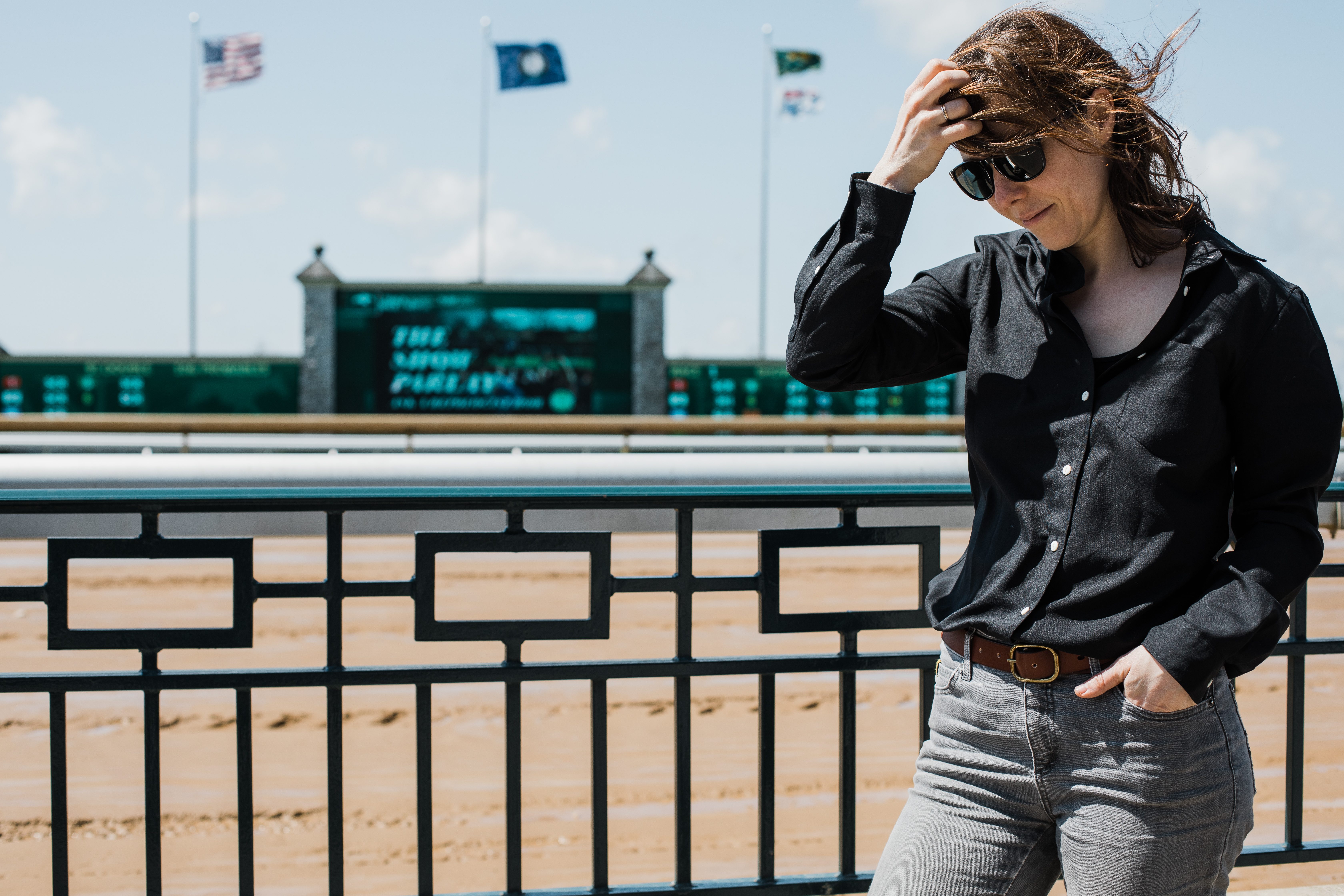 Wool & Prince Women's fitted shirt at the horse races in Kentucky