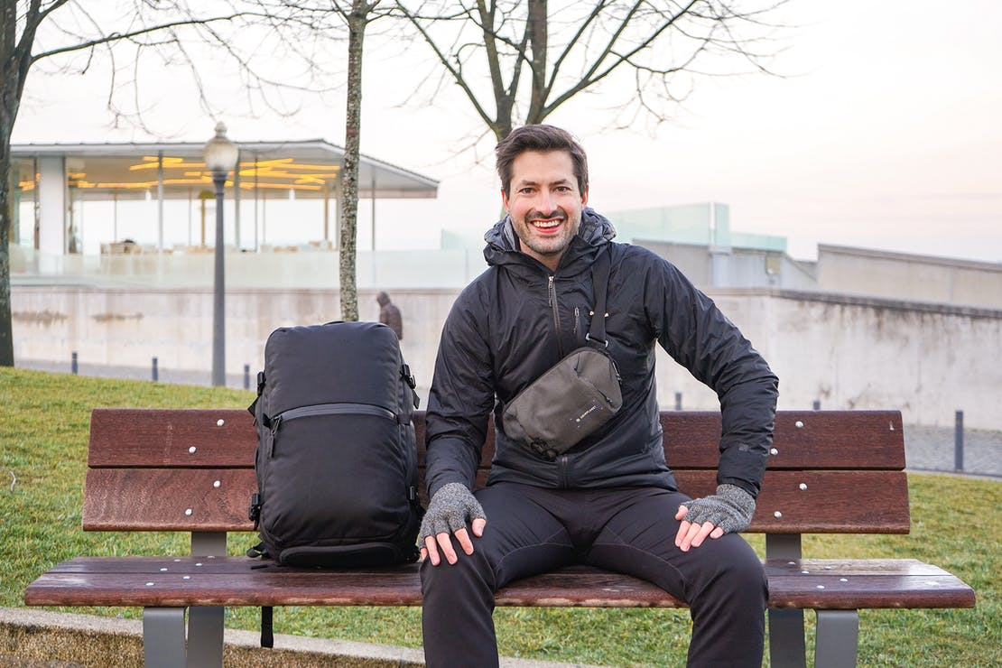 Aer Travel Pack 2 & Heimplanet Transit Line Sling In Use