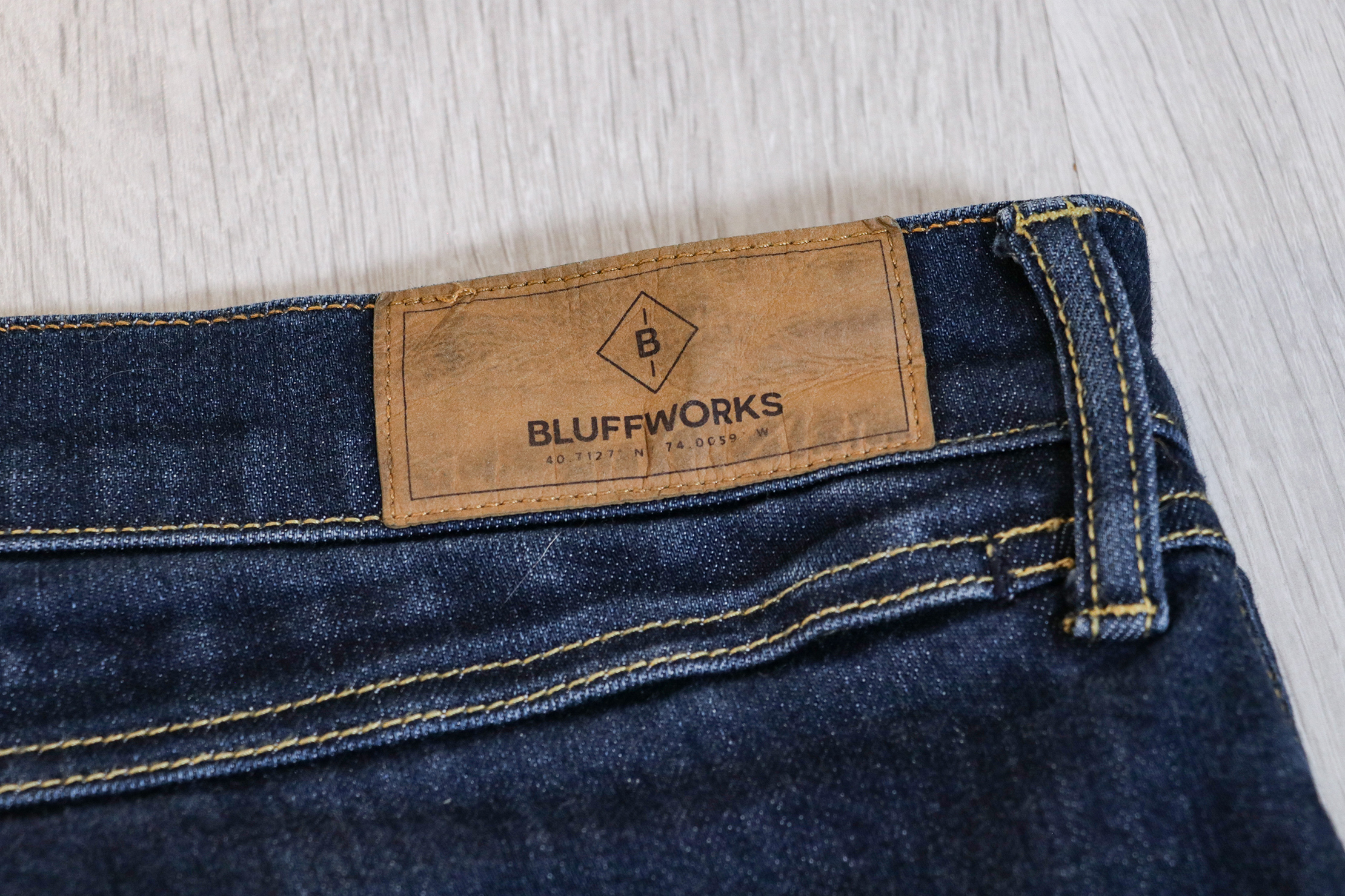 Bluffworks Departure Travel Jeans Branding