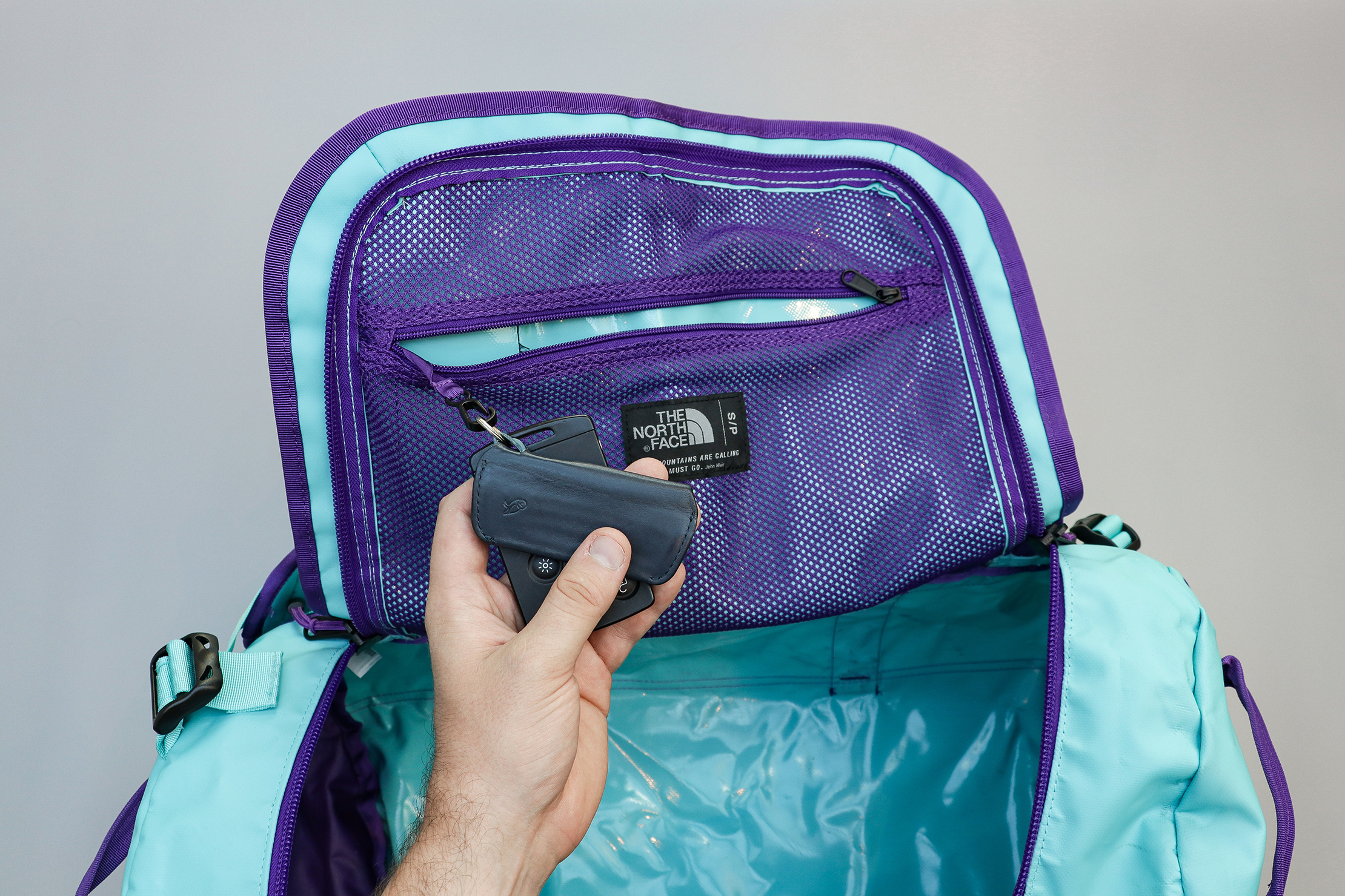 The North Face Base Camp Duffel Internal Mesh Pocket And Key Clip