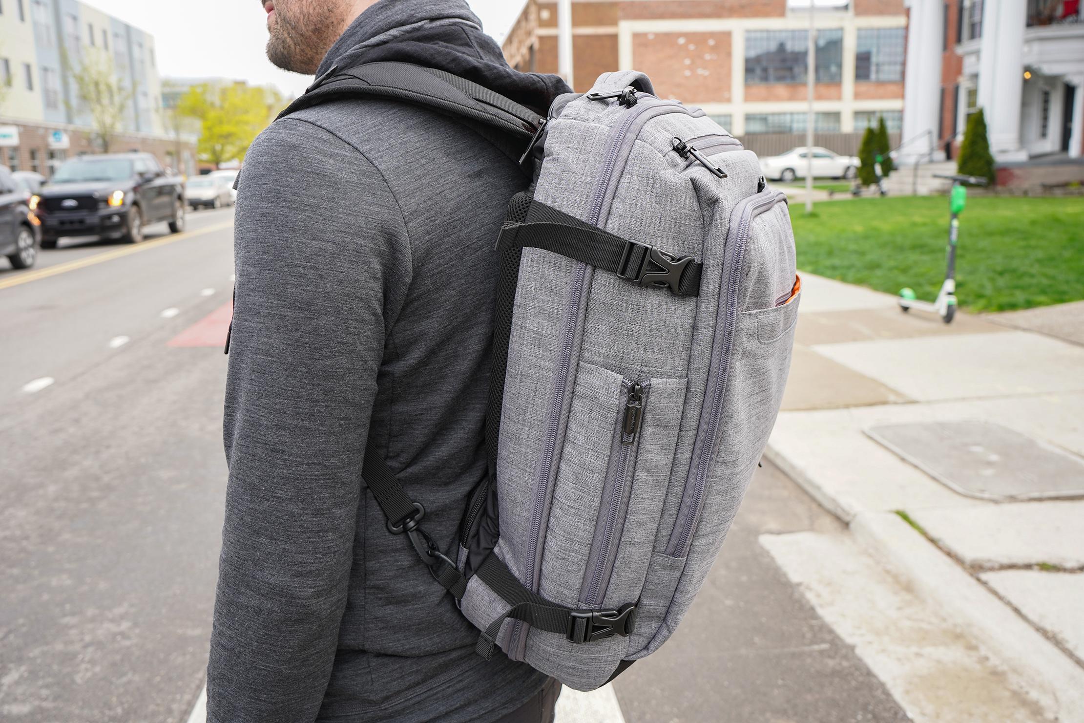 AmazonBasics Slim Travel Backpack Weekender Compression Straps