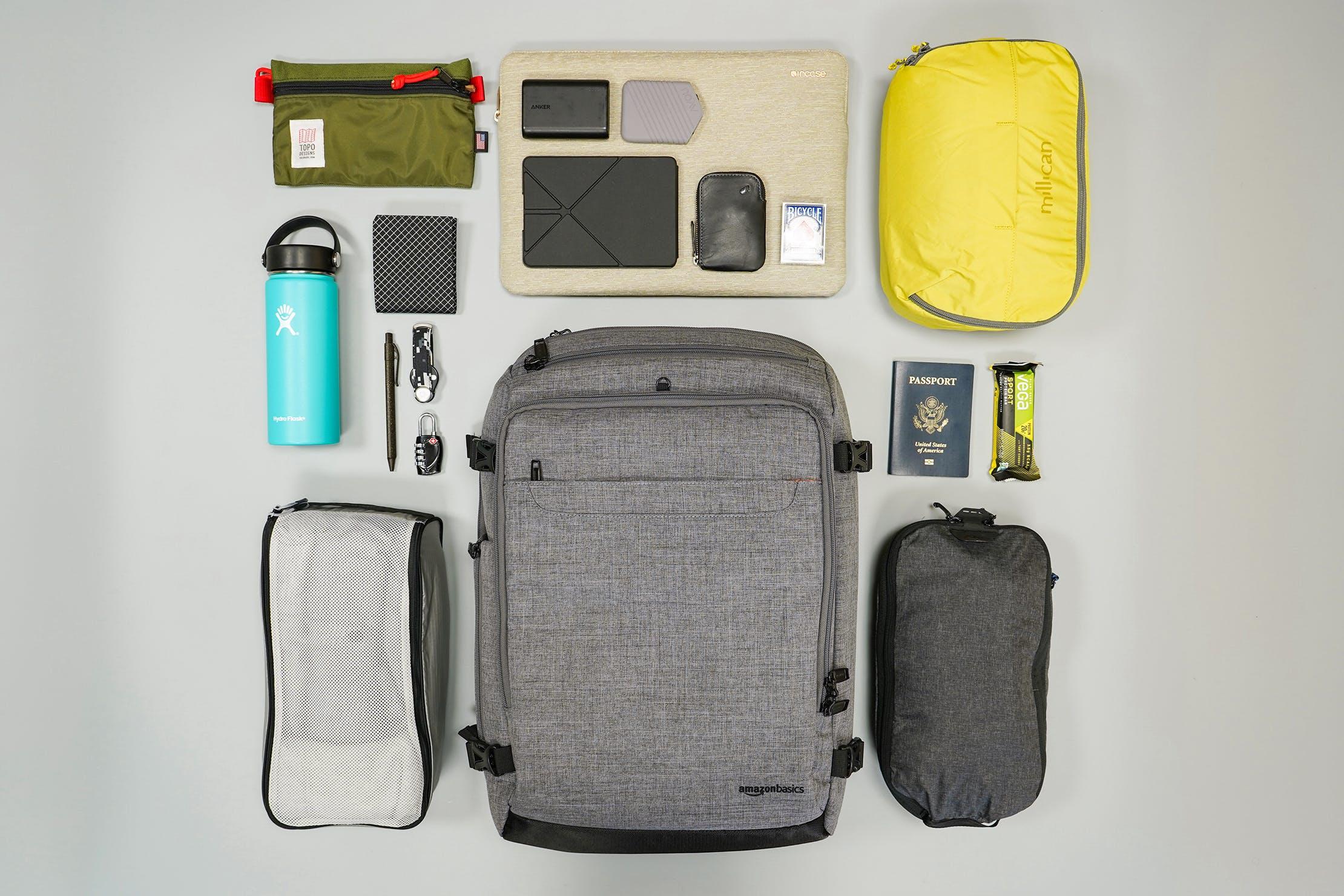 AmazonBasics Slim Travel Backpack Weekender Flat Lay