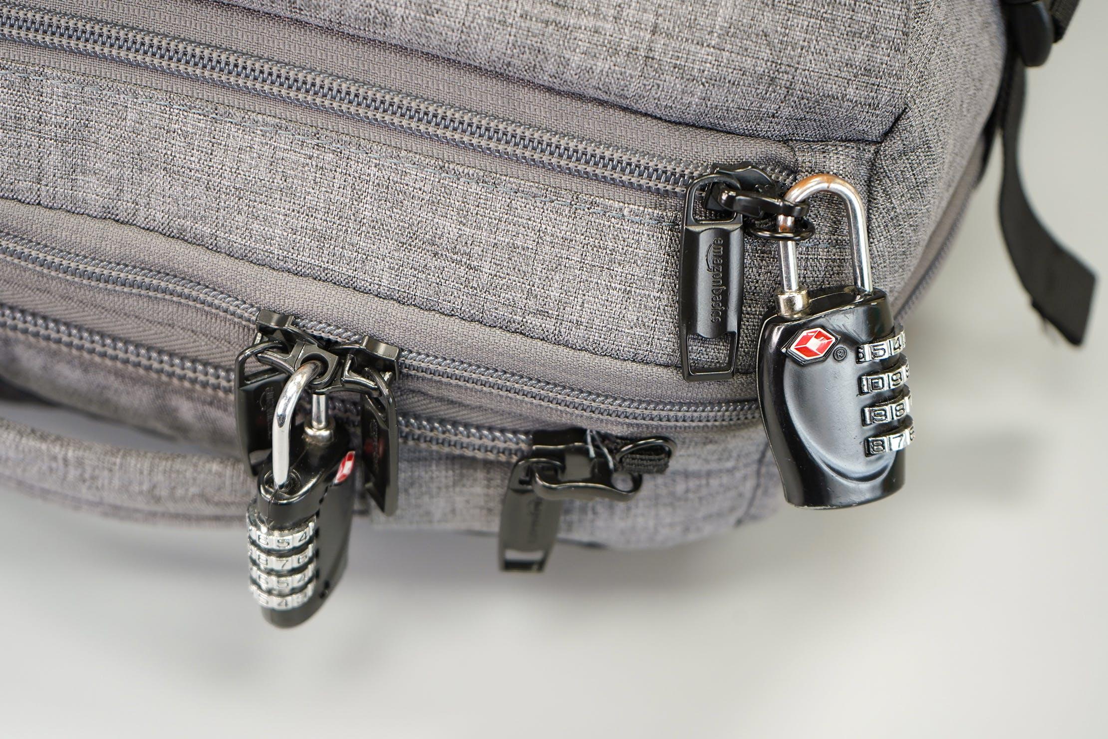AmazonBasics Slim Travel Backpack Weekender Lockable Zippers