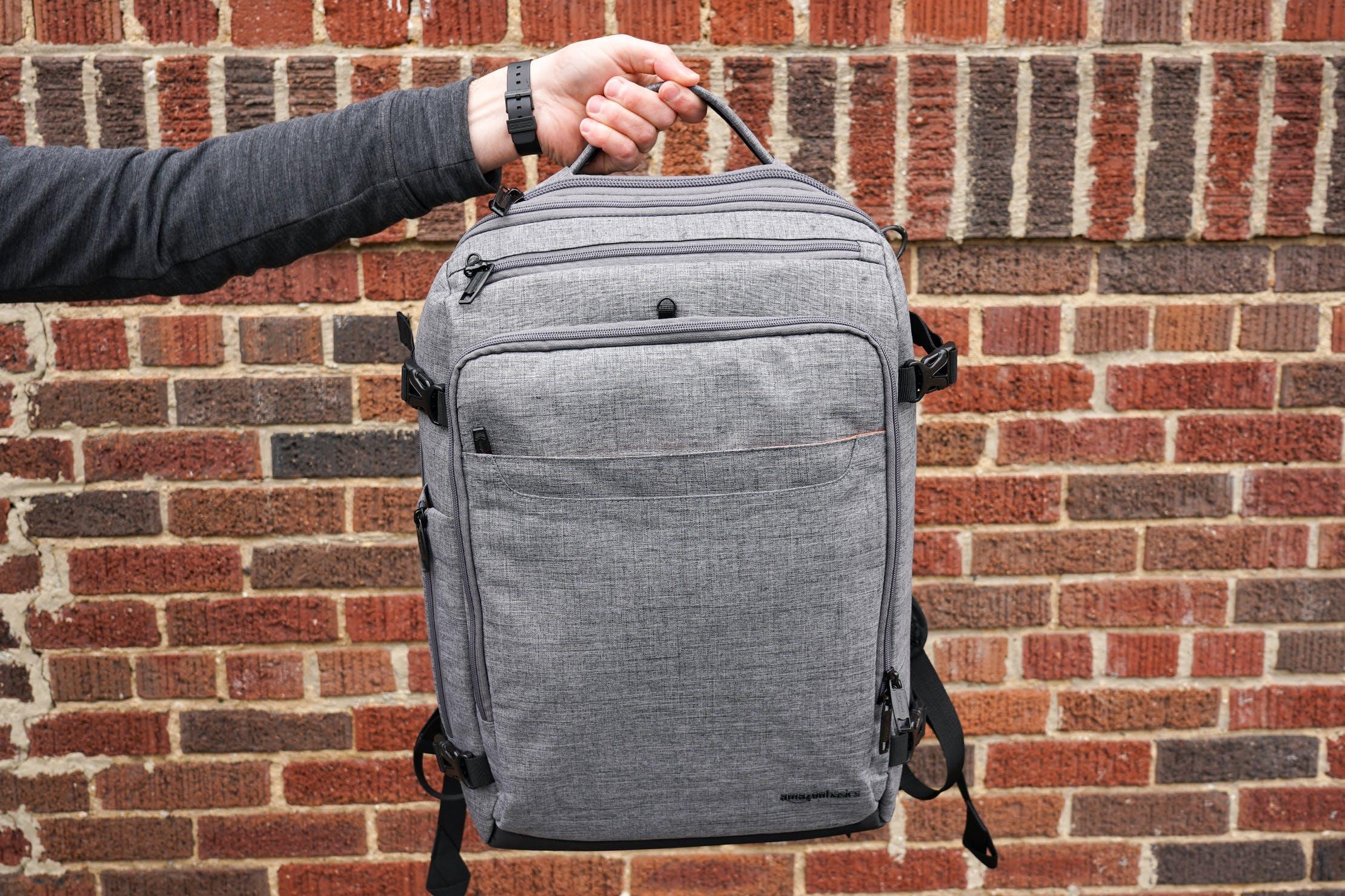 AmazonBasics Slim Travel Backpack Weekender Quick Grab Handle