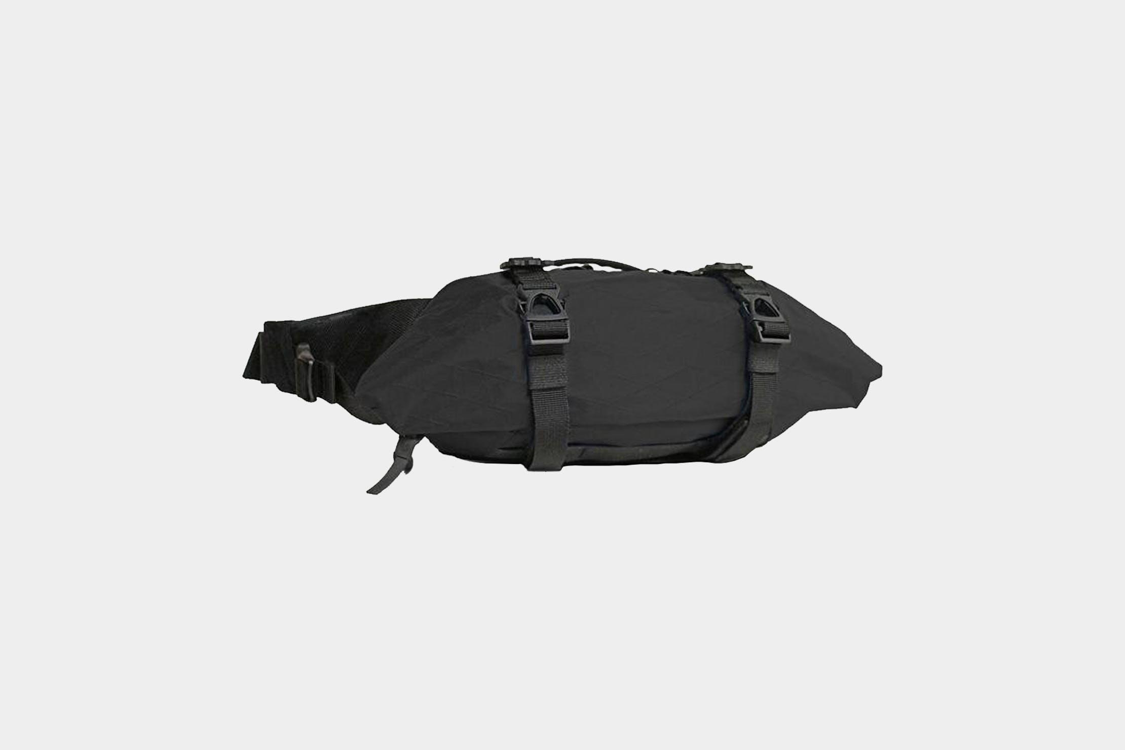 Walking Purse Travel Bag Vintage Fanny Pack Bike Bag Black Leather Decorative Design