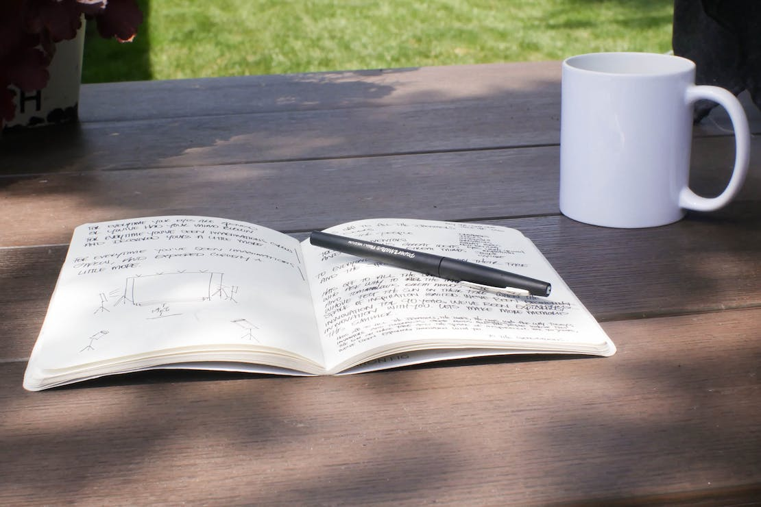 Baron Fig Vanguard Softcover Notebook In Use