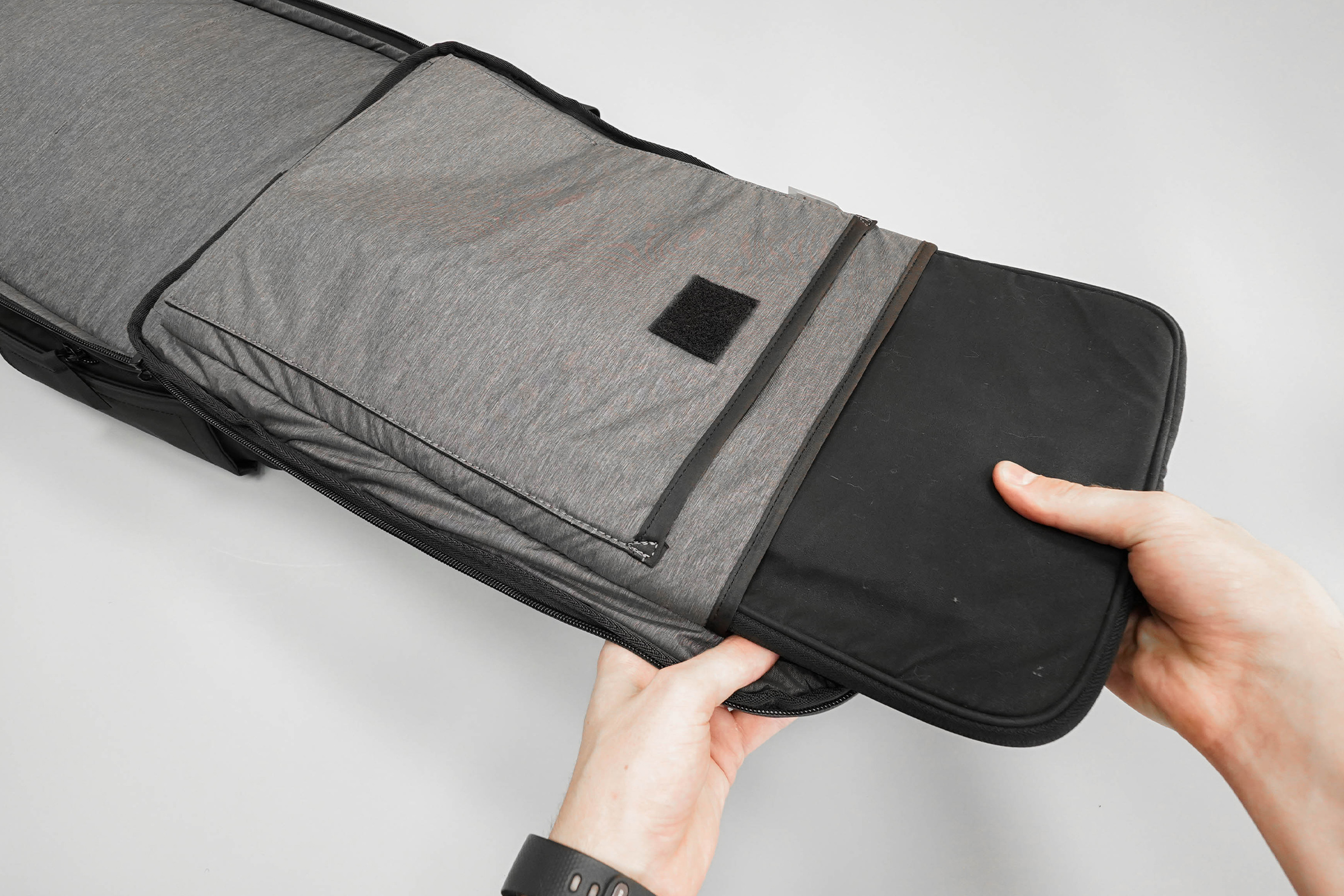 NOMATIC Travel Pack Laptop Sleeve In Use
