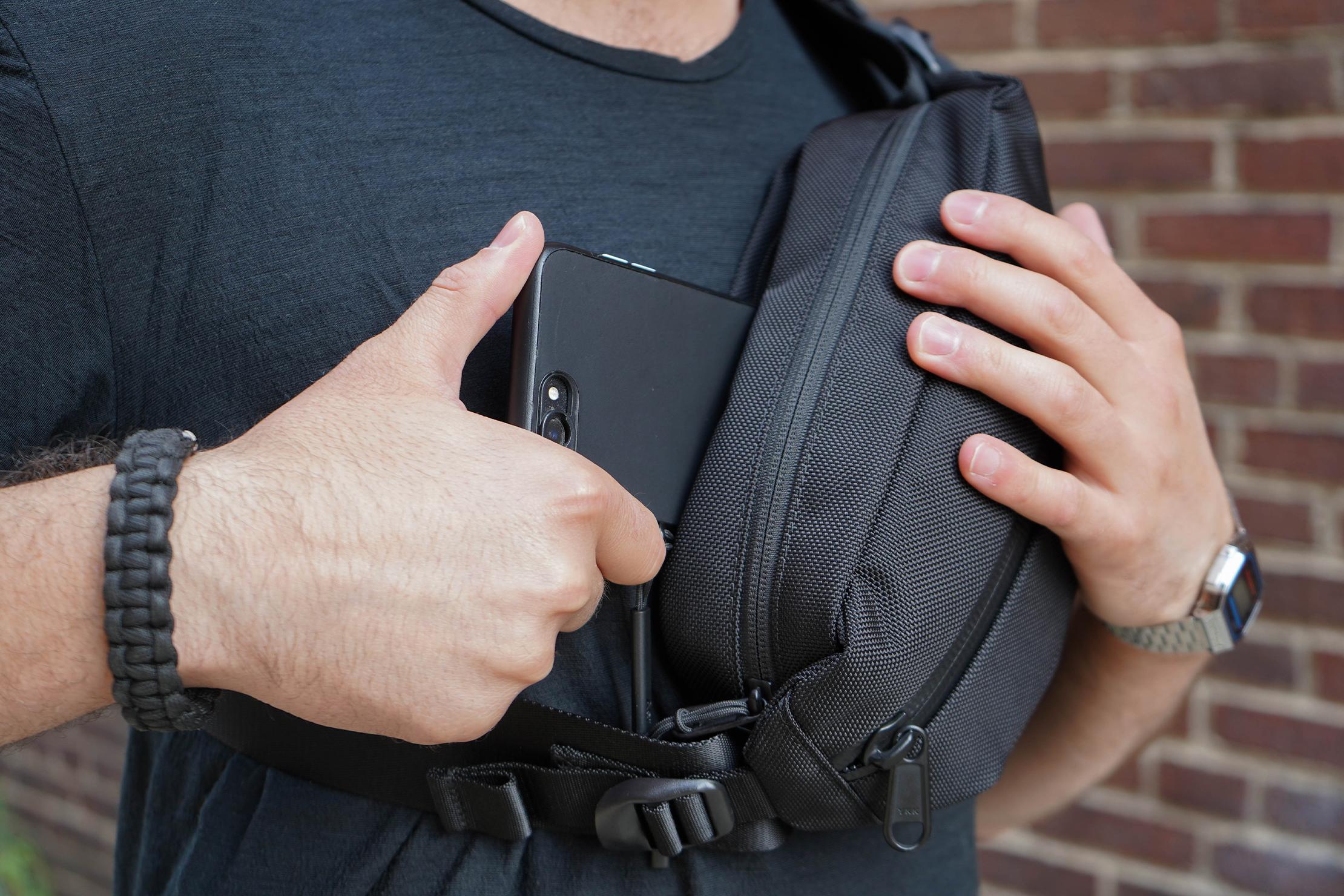 Aer City Sling Back Pocket In Use