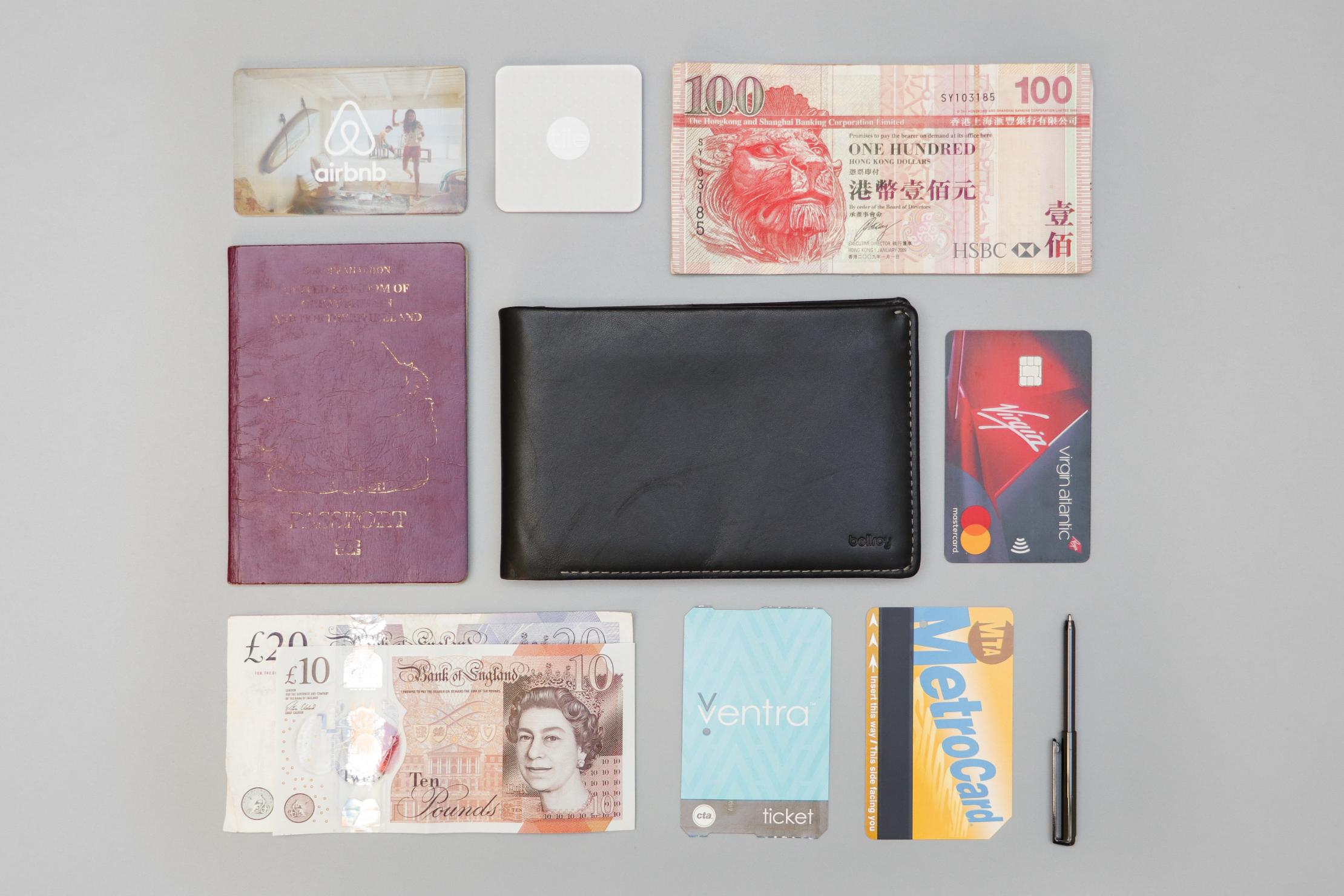 Bellroy Travel Wallet Flat Lay
