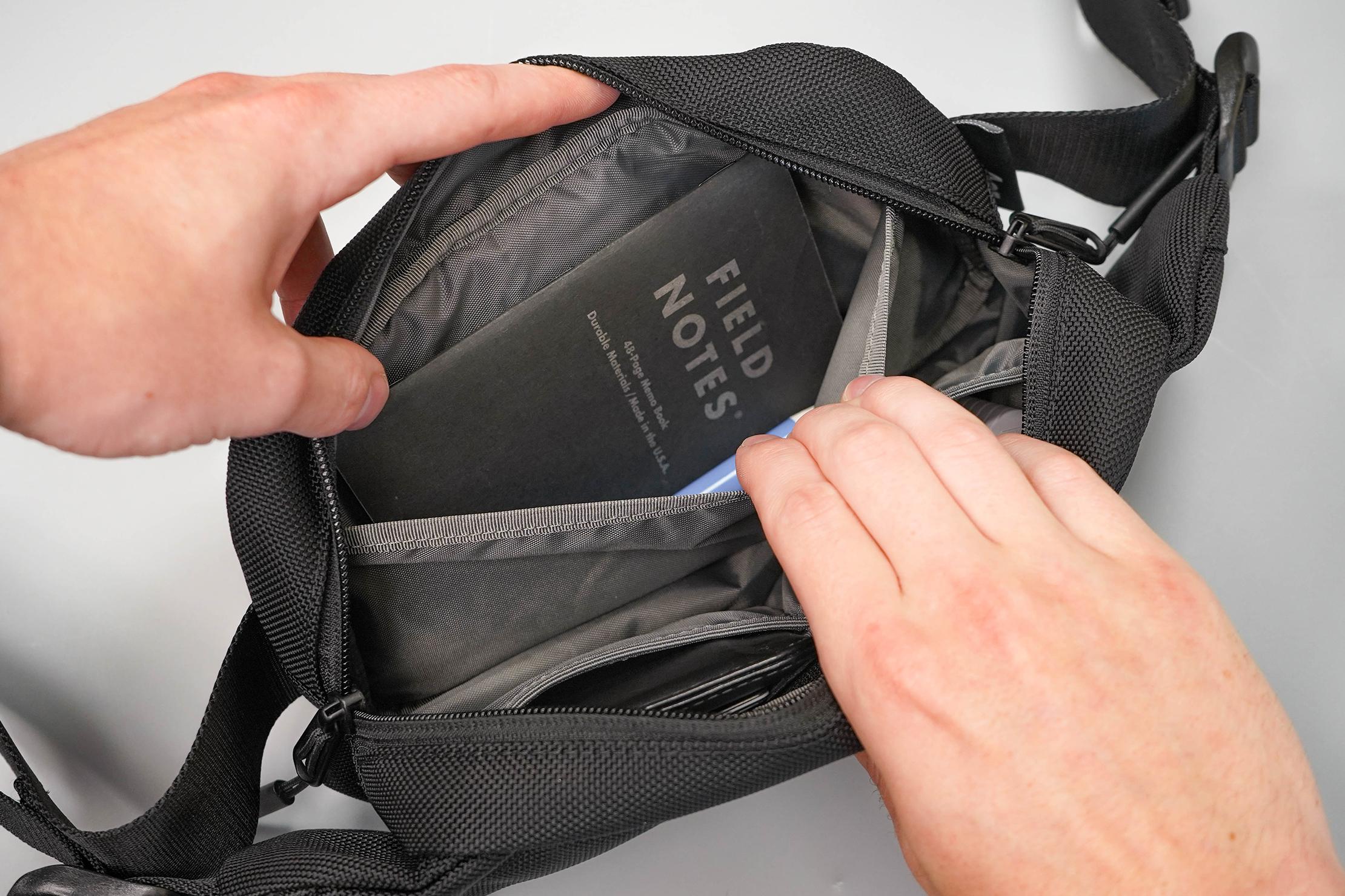 Aer City Sling Inside Liner Pocket In Use