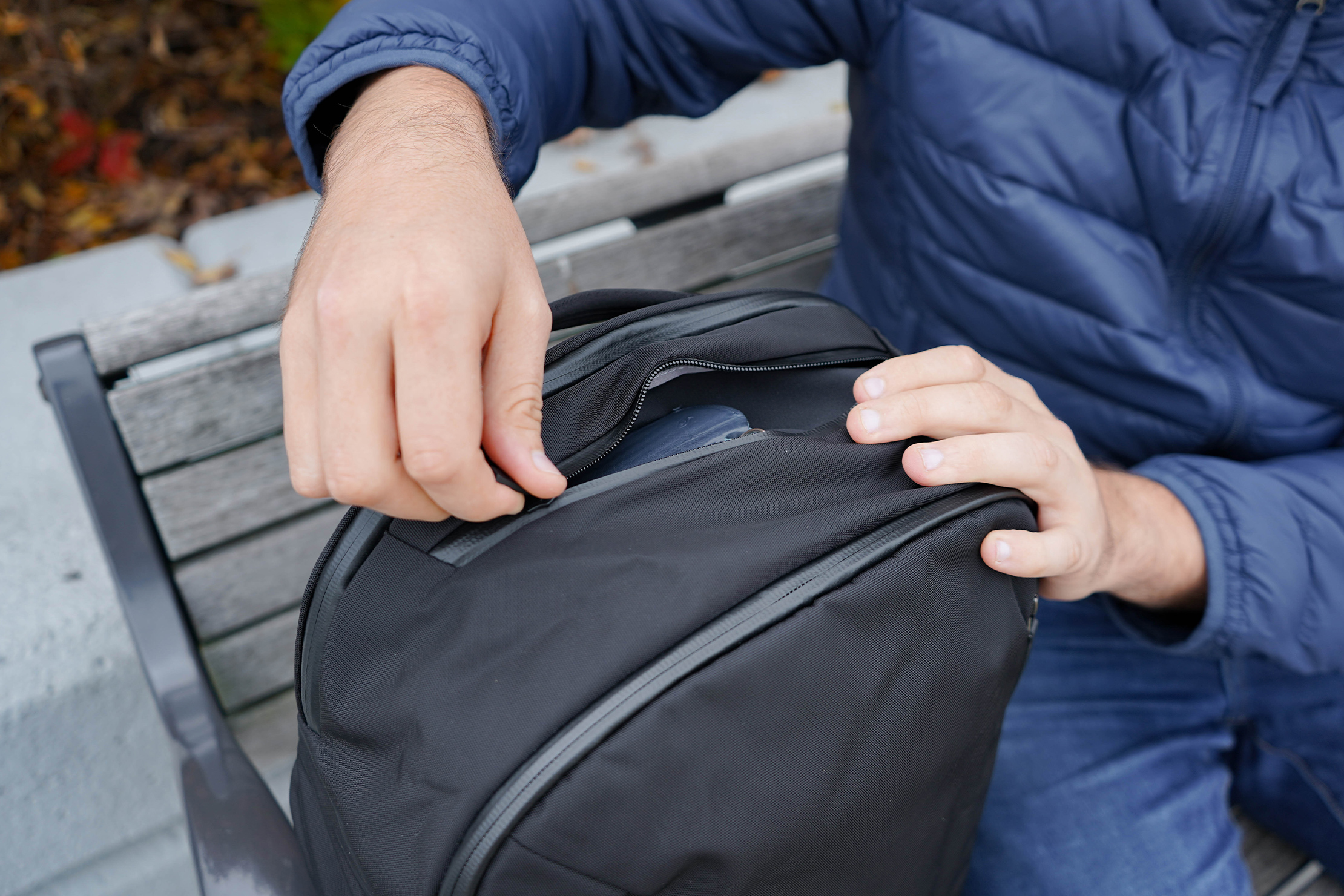 Bellroy Transit Backpack Quick-Grab Pocket Access